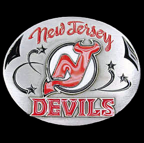 NHL Belt Buckle - New Jersey Devils - This New Jersey Devils finely sculpted and enameled New Jersey Devils belt buckle contains exceptional 3D detailing. Siskiyou's unique New Jersey Devils buckle designs often become collector's items and are unequaled in craftsmanship. Check out our entire stock of  NHL New Jersey Devils merchandise!