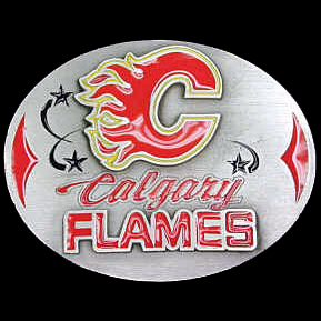 NHL Belt Buckle - Calgary Flames - This Calgary Flames finely sculpted and enameled Calgary Flames belt buckle contains exceptional 3D detailing. Siskiyou's unique Calgary Flames buckle designs often become collector's items and are unequaled in craftsmanship. Check out our entire stock of  NHL Calgary Flames merchandise! Thank you for visiting CrazedOutSports