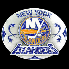 NHL Belt Buckle - New York Islanders - This finely sculpted and enameled team belt buckle contains exceptional 3D detailing. Siskiyou's unique buckle designs often become collector's items and are unequaled in craftsmanship. Check out our entire stock of  NHL merchandise!
