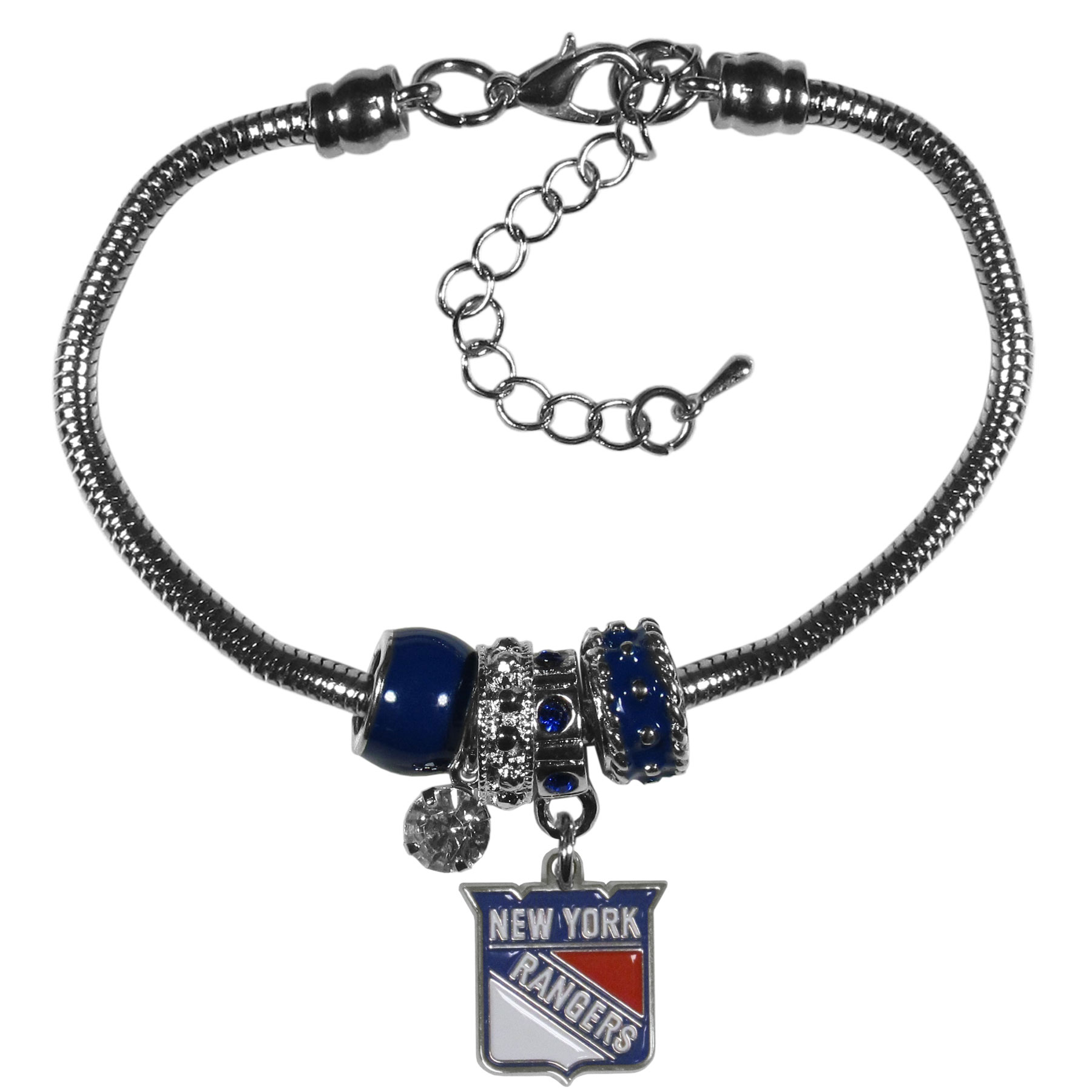 New York Rangers® Euro Bead Bracelet - We have combined the wildly popular Euro style beads with your favorite team to create our  New York Rangers® bead bracelet. The 7.5 inch snake chain with 2 inch extender features 4 Euro beads with enameled team colors and rhinestone accents with a high polish, nickel free charm and rhinestone charm. Perfect way to show off your team pride.