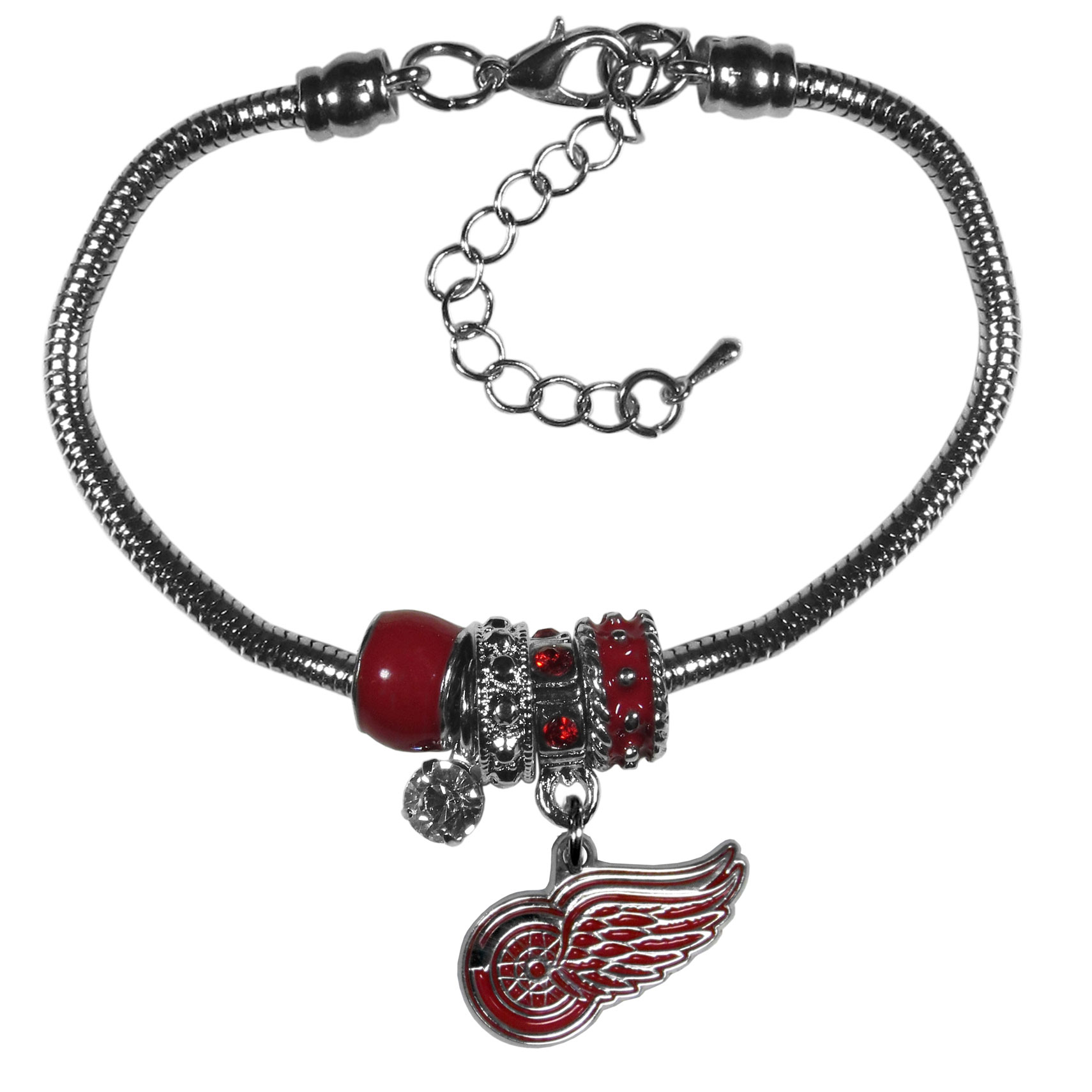 Detroit Red Wings® Euro Bead Bracelet - We have combined the wildly popular Euro style beads with your favorite team to create our  Detroit Red Wings® bead bracelet. The 7.5 inch snake chain with 2 inch extender features 4 Euro beads with enameled team colors and rhinestone accents with a high polish, nickel free charm and rhinestone charm. Perfect way to show off your team pride.