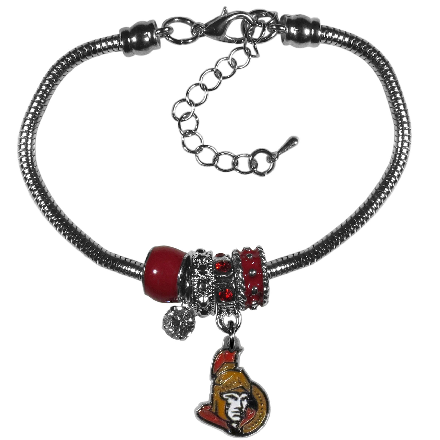 Ottawa Senators® Euro Bead Bracelet - We have combined the wildly popular Euro style beads with your favorite team to create our  Ottawa Senators® bead bracelet. The 7.5 inch snake chain with 2 inch extender features 4 Euro beads with enameled team colors and rhinestone accents with a high polish, nickel free charm and rhinestone charm. Perfect way to show off your team pride.