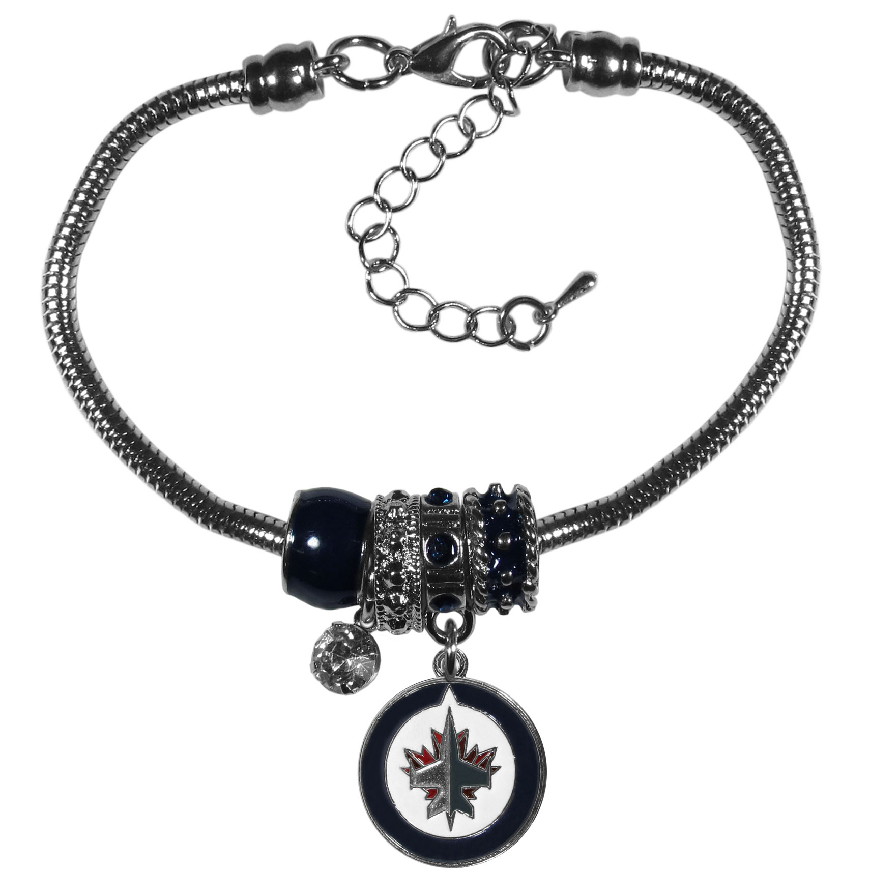 Winnipeg Jets™ Euro Bead Bracelet - We have combined the wildly popular Euro style beads with your favorite team to create our  Winnipeg Jets™ bead bracelet. The 7.5 inch snake chain with 2 inch extender features 4 Euro beads with enameled team colors and rhinestone accents with a high polish, nickel free charm and rhinestone charm. Perfect way to show off your team pride.