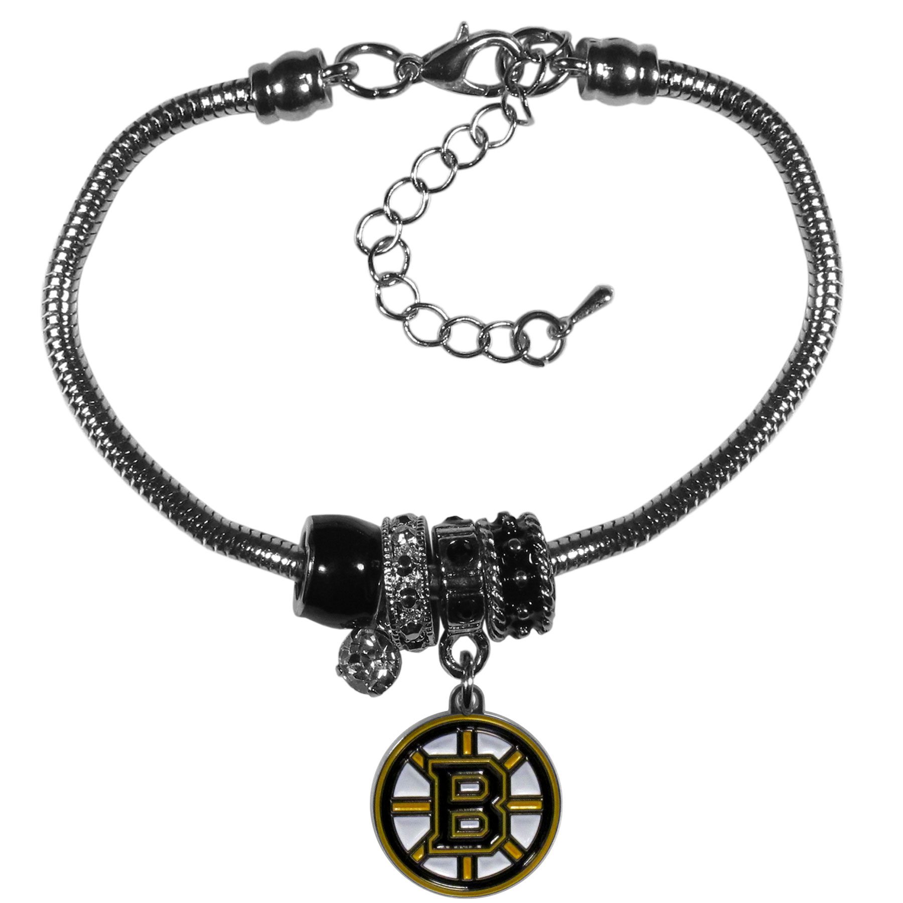Boston Bruins® Euro Bead Bracelet - We have combined the wildly popular Euro style beads with your favorite team to create our  Boston Bruins® bead bracelet. The 7.5 inch snake chain with 2 inch extender features 4 Euro beads with enameled team colors and rhinestone accents with a high polish, nickel free charm and rhinestone charm. Perfect way to show off your team pride.