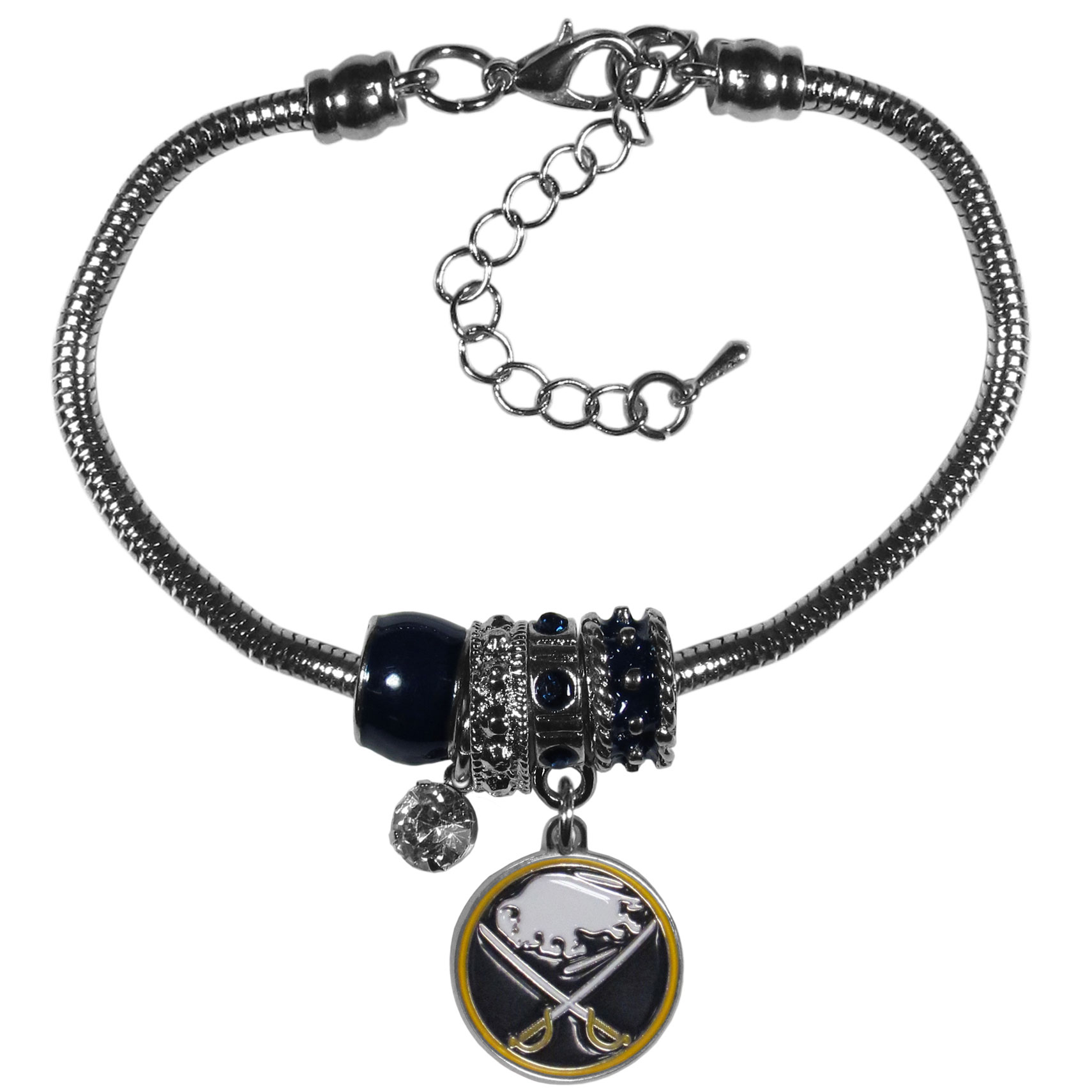 Buffalo Sabres® Euro Bead Bracelet - We have combined the wildly popular Euro style beads with your favorite team to create our  Buffalo Sabres® bead bracelet. The 7.5 inch snake chain with 2 inch extender features 4 Euro beads with enameled team colors and rhinestone accents with a high polish, nickel free charm and rhinestone charm. Perfect way to show off your team pride.