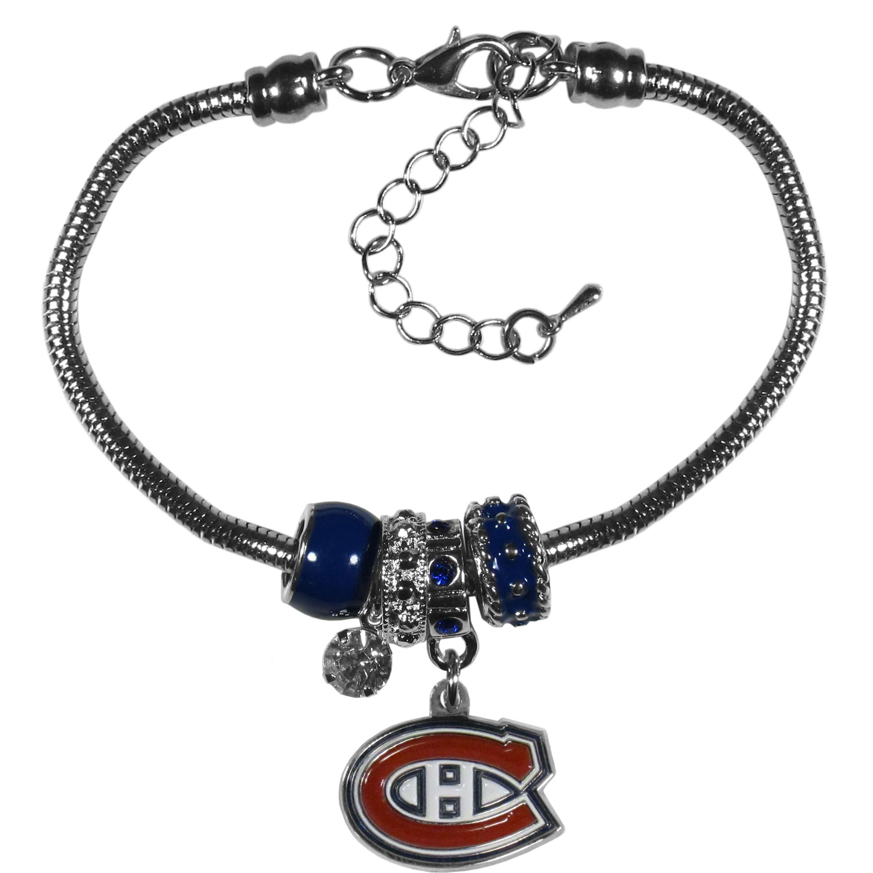 Montreal Canadiens® Euro Bead Bracelet - We have combined the wildly popular Euro style beads with your favorite team to create our  Montreal Canadiens® bead bracelet. The 7.5 inch snake chain with 2 inch extender features 4 Euro beads with enameled team colors and rhinestone accents with a high polish, nickel free charm and rhinestone charm. Perfect way to show off your team pride.