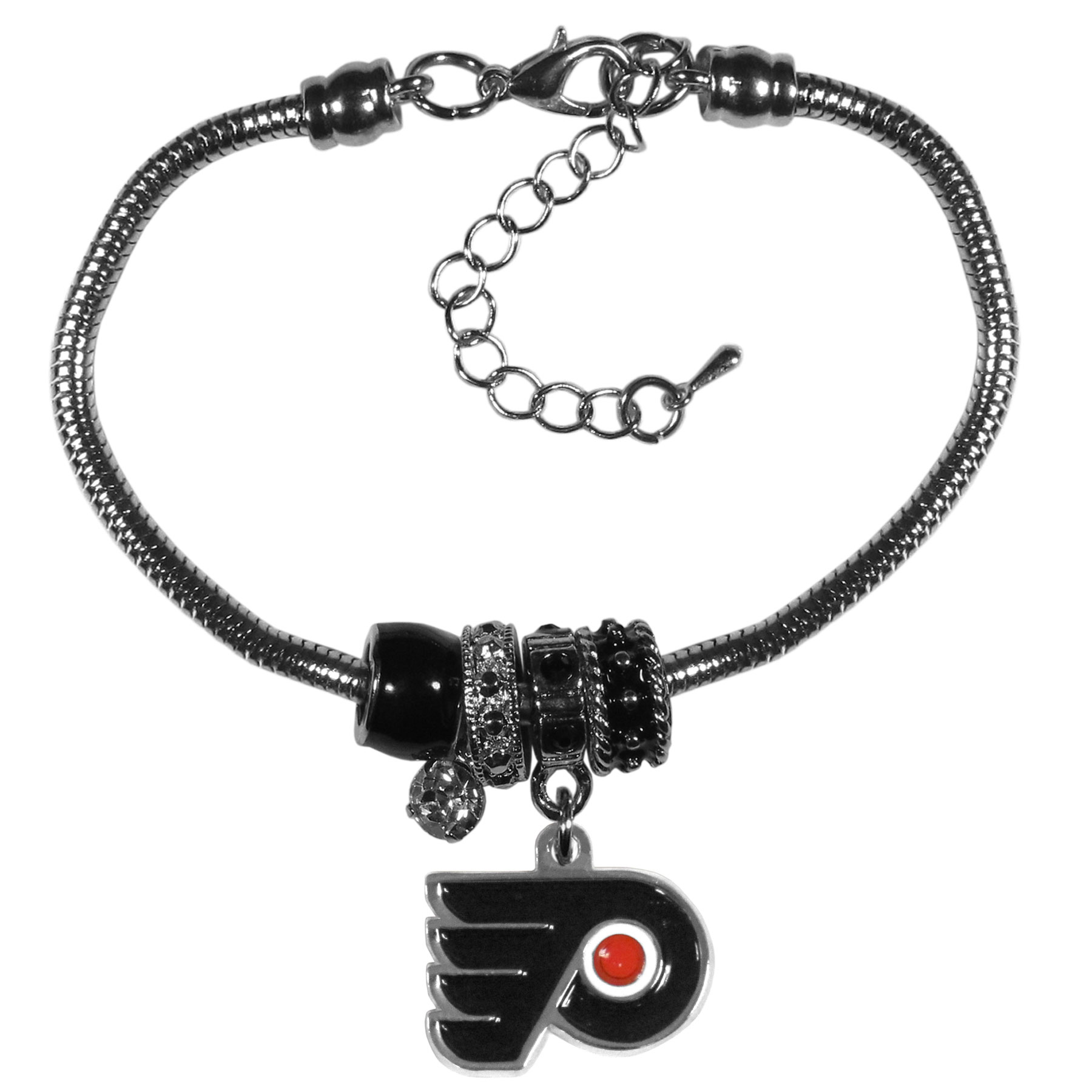 Philadelphia Flyers® Euro Bead Bracelet - We have combined the wildly popular Euro style beads with your favorite team to create our  Philadelphia Flyers® bead bracelet. The 7.5 inch snake chain with 2 inch extender features 4 Euro beads with enameled team colors and rhinestone accents with a high polish, nickel free charm and rhinestone charm. Perfect way to show off your team pride.