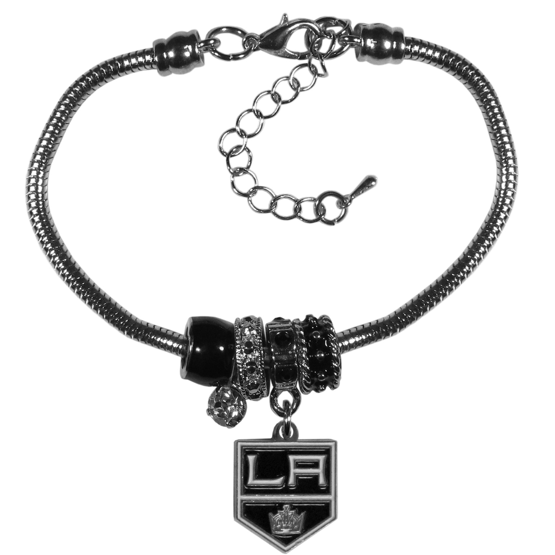 Los Angeles Kings® Euro Bead Bracelet - We have combined the wildly popular Euro style beads with your favorite team to create our  Los Angeles Kings® bead bracelet. The 7.5 inch snake chain with 2 inch extender features 4 Euro beads with enameled team colors and rhinestone accents with a high polish, nickel free charm and rhinestone charm. Perfect way to show off your team pride.