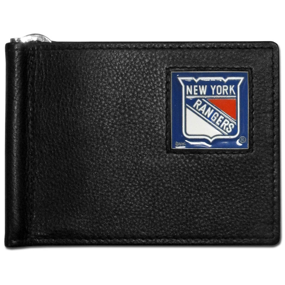 New York Rangers® Leather Bill Clip Wallet - This cool new style wallet features an inner, metal bill clip that lips up for easy access. The super slim wallet holds tons of stuff with ample pockets, credit card slots & windowed ID slot. The wallet is made of genuine fine grain leather and it finished with a metal New York Rangers® emblem. The wallet is shipped in gift box packaging.