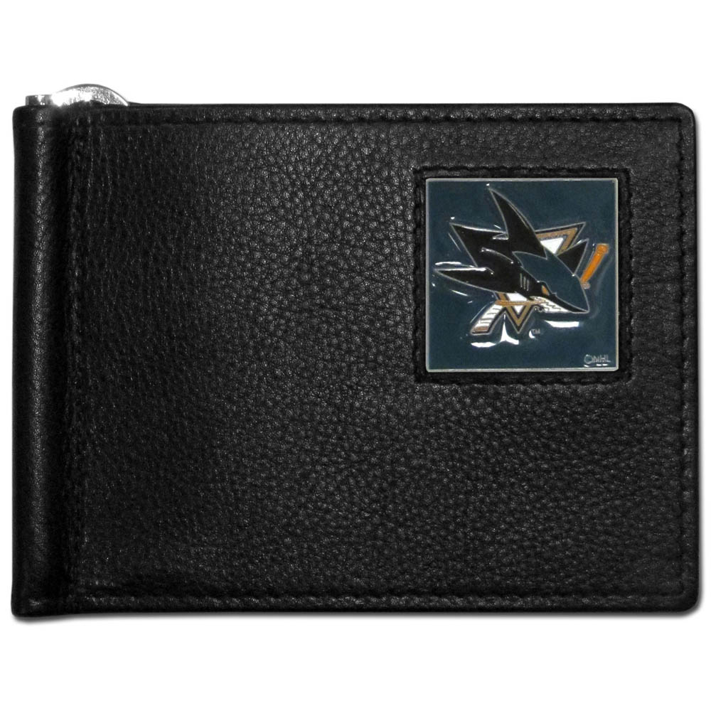 San Jose Sharks® Leather Bill Clip Wallet - This cool new style wallet features an inner, metal bill clip that lips up for easy access. The super slim wallet holds tons of stuff with ample pockets, credit card slots & windowed ID slot. The wallet is made of genuine fine grain leather and it finished with a metal San Jose Sharks® emblem. The wallet is shipped in gift box packaging.