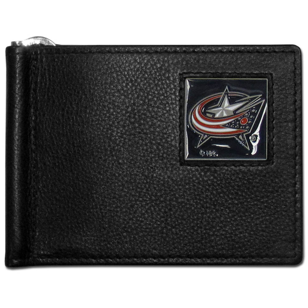 Columbus Blue Jackets® Leather Bill Clip Wallet - This cool new style wallet features an inner, metal bill clip that lips up for easy access. The super slim wallet holds tons of stuff with ample pockets, credit card slots & windowed ID slot. The wallet is made of genuine fine grain leather and it finished with a metal Columbus Blue Jackets® emblem. The wallet is shipped in gift box packaging.