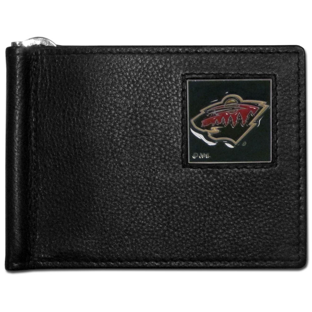 Minnesota Wild® Leather Bill Clip Wallet - This cool new style wallet features an inner, metal bill clip that lips up for easy access. The super slim wallet holds tons of stuff with ample pockets, credit card slots & windowed ID slot. The wallet is made of genuine fine grain leather and it finished with a metal Minnesota Wild® emblem. The wallet is shipped in gift box packaging.