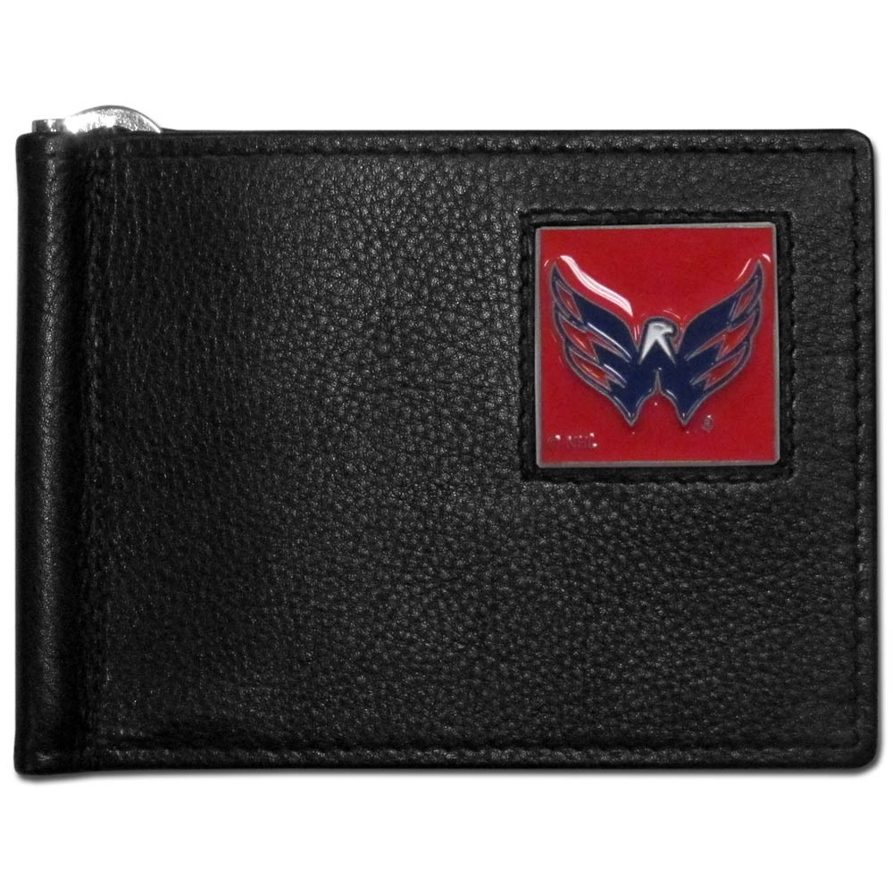 Washington Capitals® Leather Bill Clip Wallet - This cool new style wallet features an inner, metal bill clip that lips up for easy access. The super slim wallet holds tons of stuff with ample pockets, credit card slots & windowed ID slot. The wallet is made of genuine fine grain leather and it finished with a metal Washington Capitals® emblem. The wallet is shipped in gift box packaging.