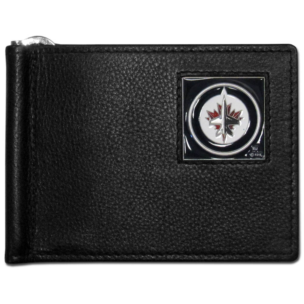 Winnipeg Jets™ Leather Bill Clip Wallet - This cool new style wallet features an inner, metal bill clip that lips up for easy access. The super slim wallet holds tons of stuff with ample pockets, credit card slots & windowed ID slot. The wallet is made of genuine fine grain leather and it finished with a metal Winnipeg Jets™ emblem. The wallet is shipped in gift box packaging.