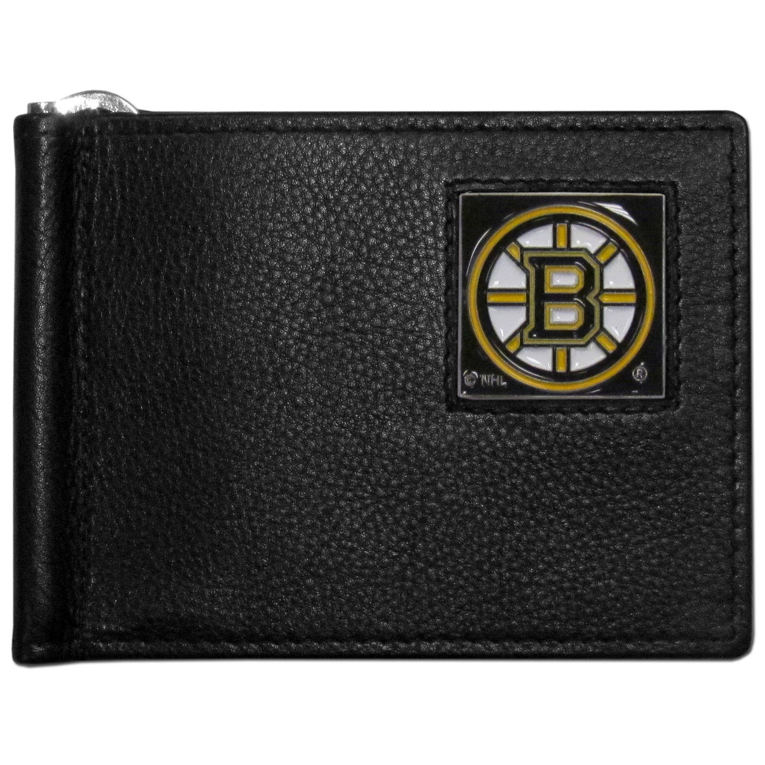 Boston Bruins® Leather Bill Clip Wallet - This cool new style wallet features an inner, metal bill clip that lips up for easy access. The super slim wallet holds tons of stuff with ample pockets, credit card slots & windowed ID slot. The wallet is made of genuine fine grain leather and it finished with a metal Boston Bruins® emblem. The wallet is shipped in gift box packaging.