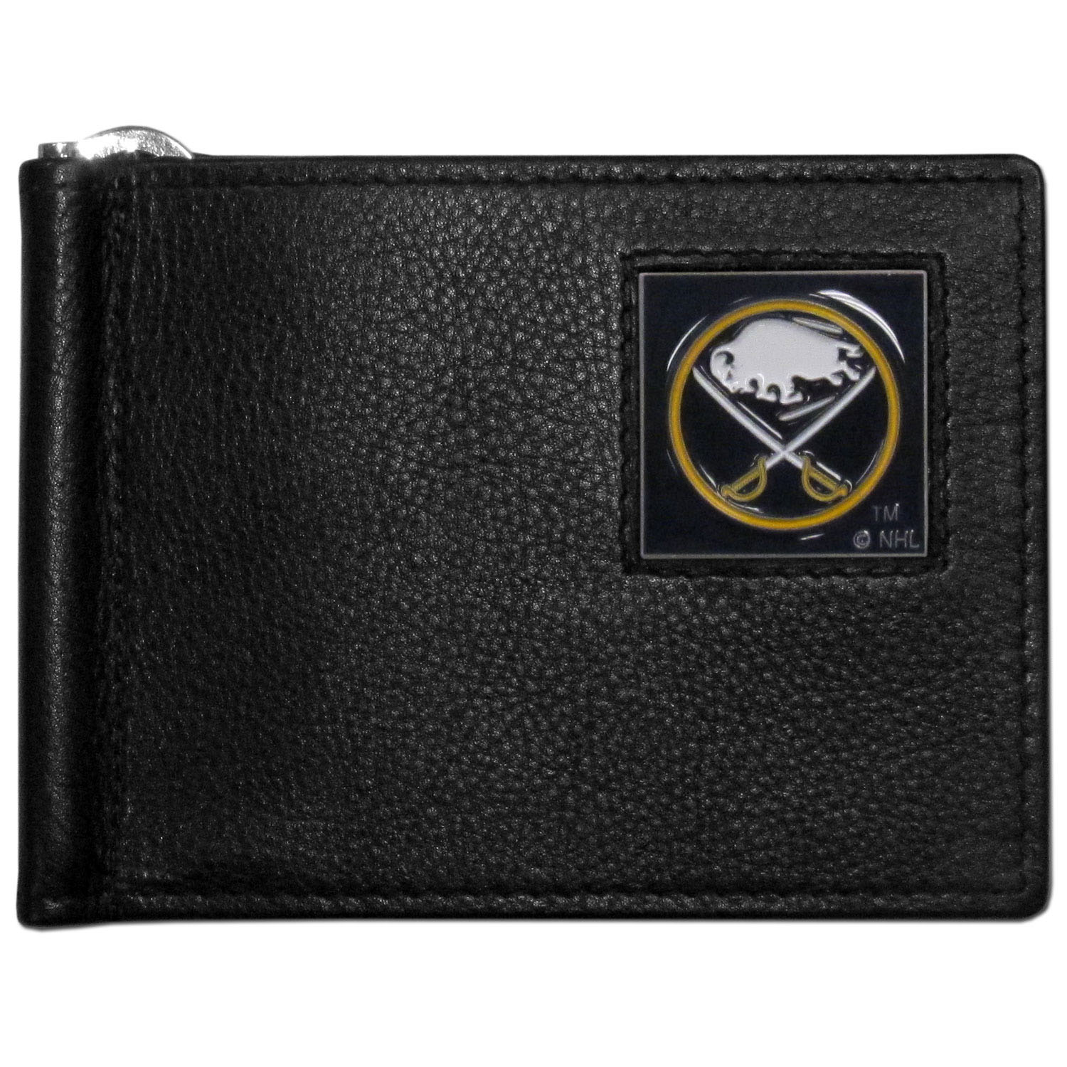 Buffalo Sabres® Leather Bill Clip Wallet - This cool new style wallet features an inner, metal bill clip that lips up for easy access. The super slim wallet holds tons of stuff with ample pockets, credit card slots & windowed ID slot. The wallet is made of genuine fine grain leather and it finished with a metal Buffalo Sabres® emblem. The wallet is shipped in gift box packaging.