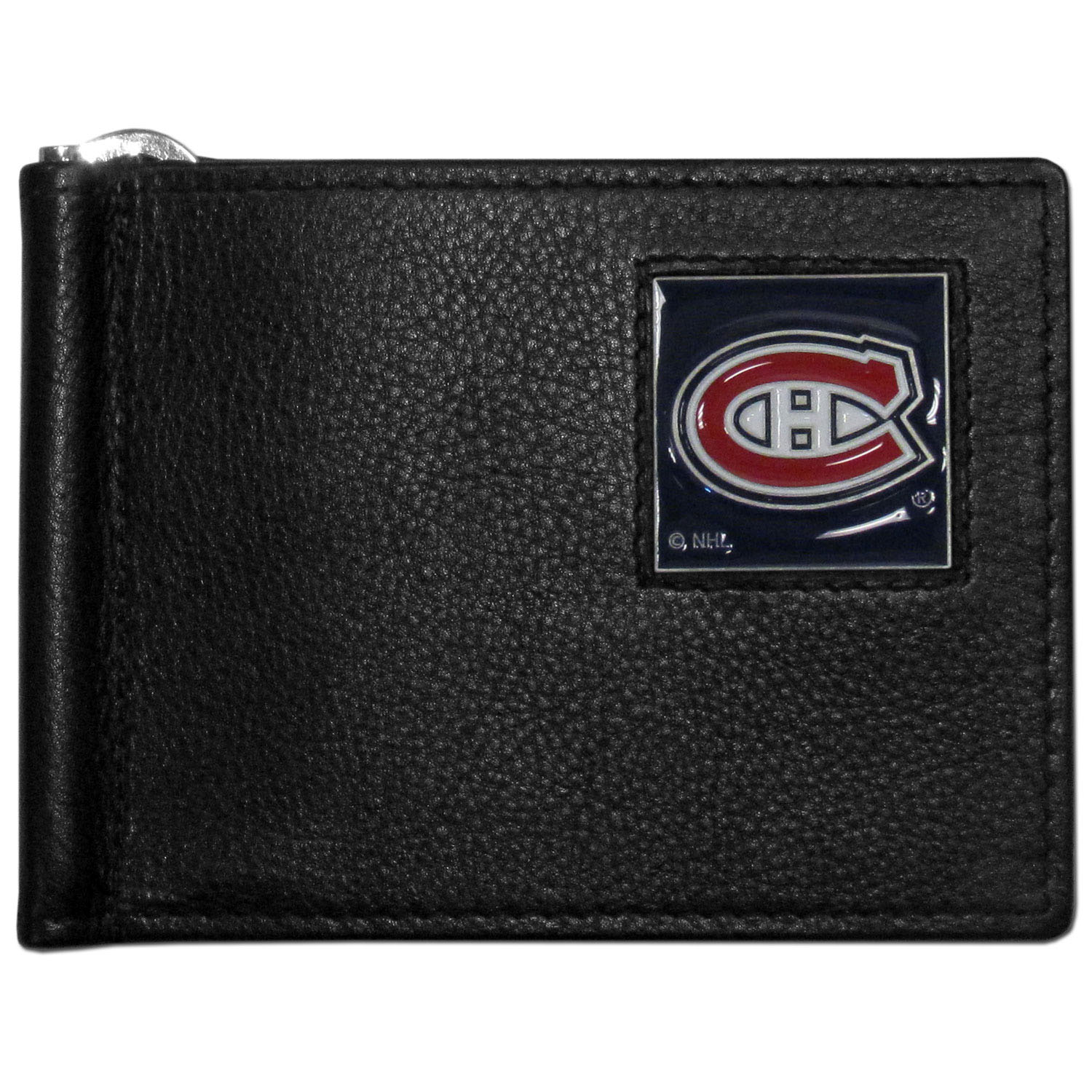 Montreal Canadiens® Leather Bill Clip Wallet - This cool new style wallet features an inner, metal bill clip that lips up for easy access. The super slim wallet holds tons of stuff with ample pockets, credit card slots & windowed ID slot.  The wallet is made of genuine fine grain leather and it finished with a metal Montreal Canadiens® emblem. The wallet is shipped in gift box packaging.