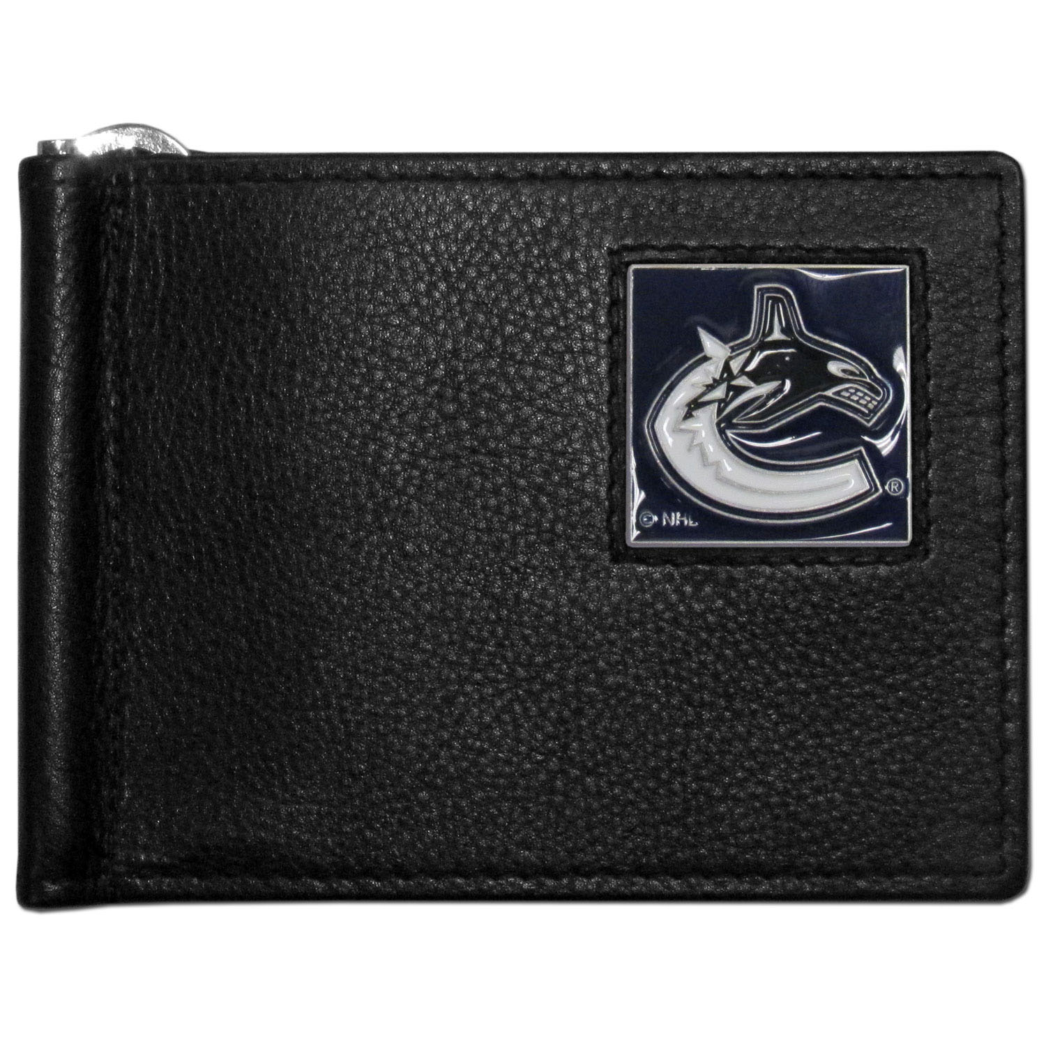 Vancouver Canucks® Leather Bill Clip Wallet - This cool new style wallet features an inner, metal bill clip that lips up for easy access. The super slim wallet holds tons of stuff with ample pockets, credit card slots & windowed ID slot. The wallet is made of genuine fine grain leather and it finished with a metal Vancouver Canucks® emblem. The wallet is shipped in gift box packaging.