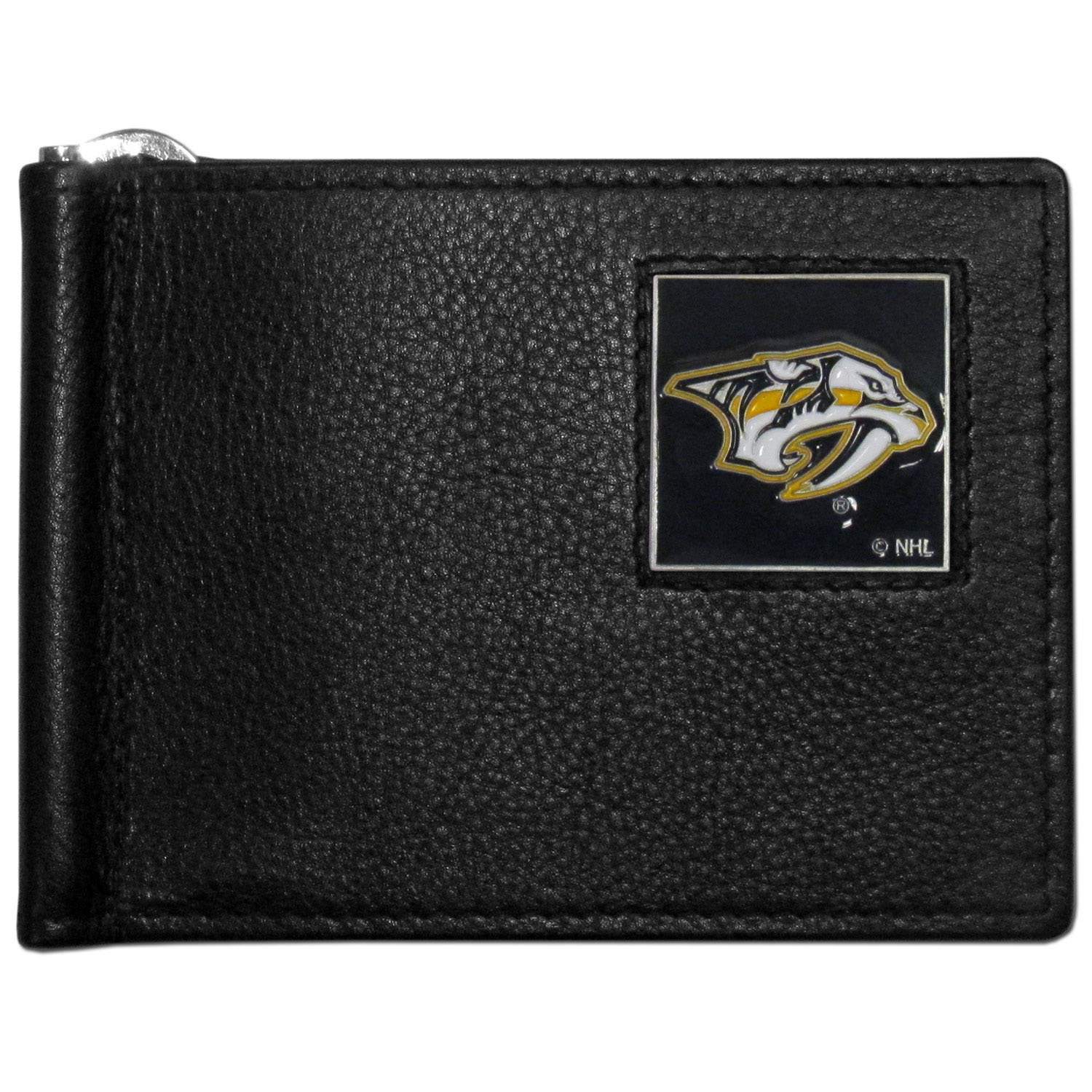 Nashville Predators® Leather Bill Clip Wallet - This cool new style wallet features an inner, metal bill clip that lips up for easy access. The super slim wallet holds tons of stuff with ample pockets, credit card slots & windowed ID slot. The wallet is made of genuine fine grain leather and it finished with a metal Nashville Predators® emblem. The wallet is shipped in gift box packaging.