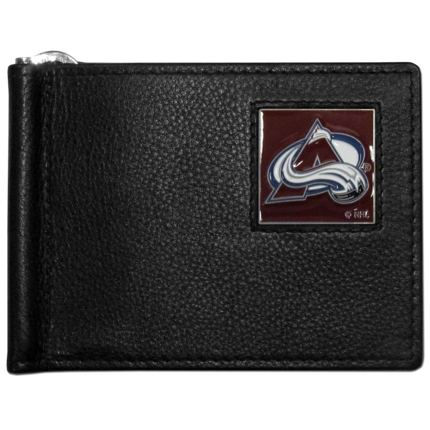 Colorado Avalanche® Leather Bill Clip Wallet - This cool new style wallet features an inner, metal bill clip that lips up for easy access. The super slim wallet holds tons of stuff with ample pockets, credit card slots & windowed ID slot. The wallet is made of genuine fine grain leather and it finished with a metal Colorado Avalanche® emblem. The wallet is shipped in gift box packaging.