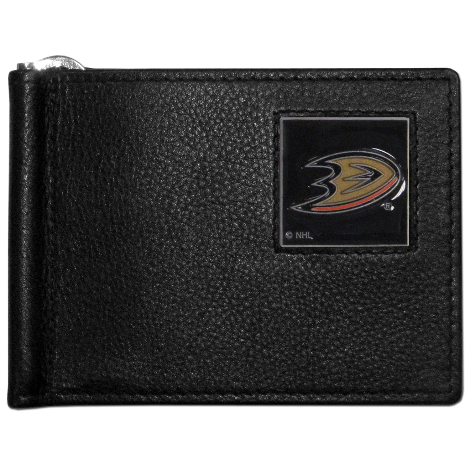 Anaheim Ducks® Leather Bill Clip Wallet - This cool new style wallet features an inner, metal bill clip that lips up for easy access. The super slim wallet holds tons of stuff with ample pockets, credit card slots & windowed ID slot. The wallet is made of genuine fine grain leather and it finished with a metal Anaheim Ducks® emblem. The wallet is shipped in gift box packaging.