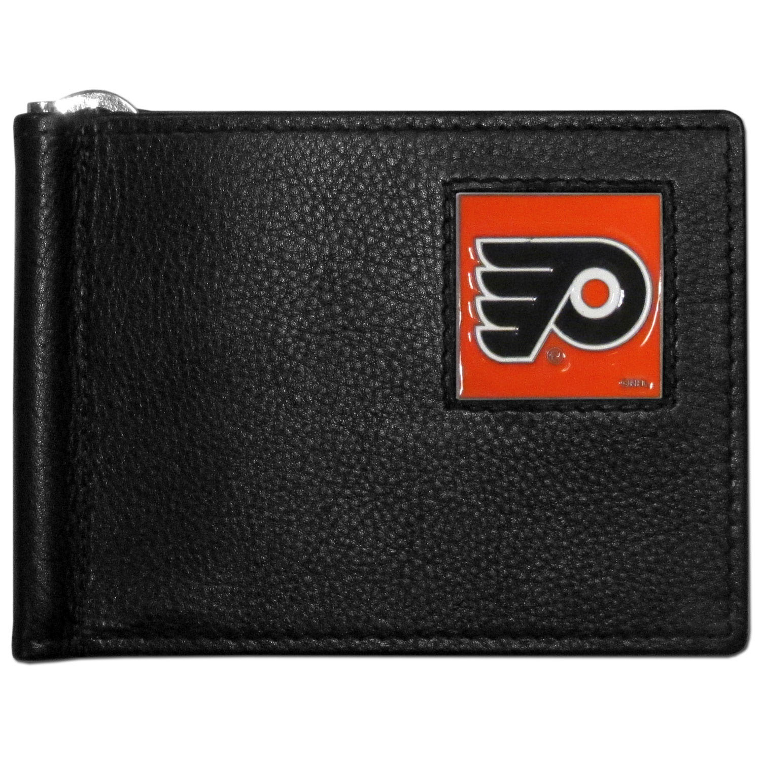 Philadelphia Flyers® Leather Bill Clip Wallet - This cool new style wallet features an inner, metal bill clip that lips up for easy access. The super slim wallet holds tons of stuff with ample pockets, credit card slots & windowed ID slot. The wallet is made of genuine fine grain leather and it finished with a metal Philadelphia Flyers® emblem. The wallet is shipped in gift box packaging.