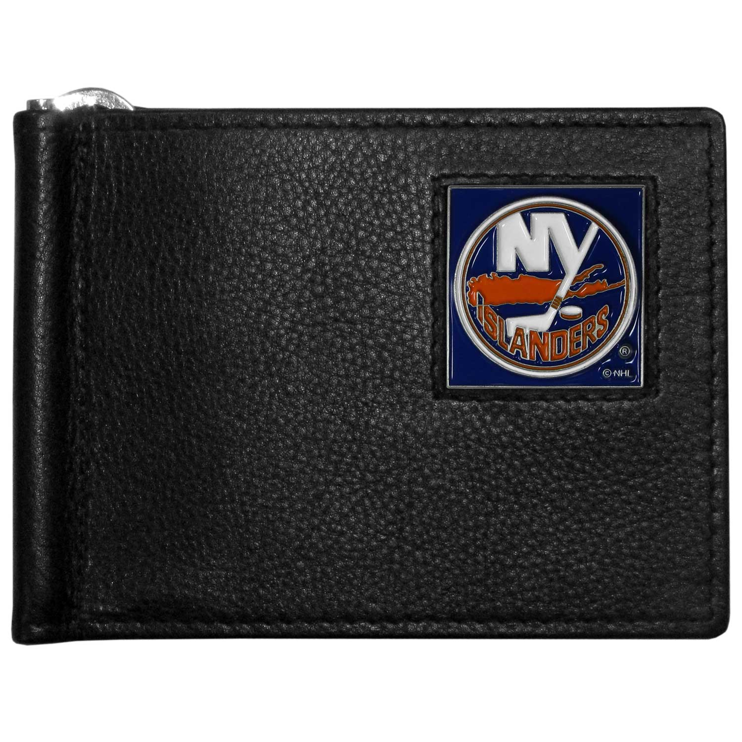 New York Islanders® Leather Bill Clip Wallet - This cool new style wallet features an inner, metal bill clip that lips up for easy access. The super slim wallet holds tons of stuff with ample pockets, credit card slots & windowed ID slot. The wallet is made of genuine fine grain leather and it finished with a metal New York Islanders® emblem. The wallet is shipped in gift box packaging.