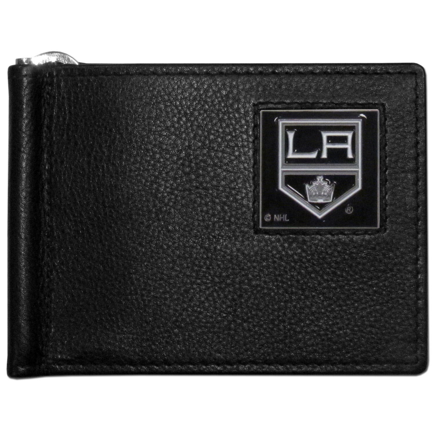 Los Angeles Kings® Leather Bill Clip Wallet - This cool new style wallet features an inner, metal bill clip that lips up for easy access. The super slim wallet holds tons of stuff with ample pockets, credit card slots & windowed ID slot. The wallet is made of genuine fine grain leather and it finished with a metal Los Angeles Kings® emblem. The wallet is shipped in gift box packaging.