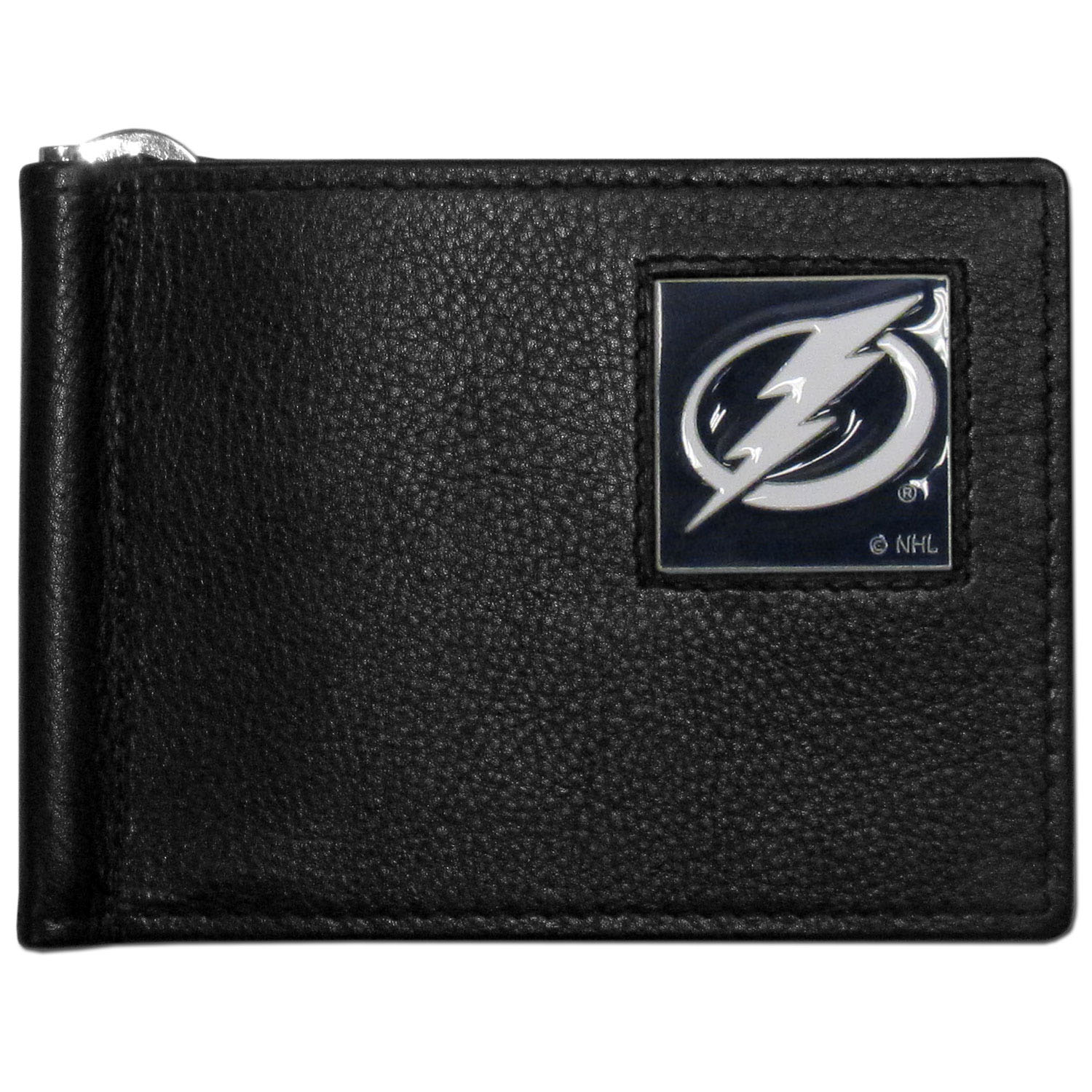 Tampa Bay Lightning® Leather Bill Clip Wallet - This cool new style wallet features an inner, metal bill clip that lips up for easy access. The super slim wallet holds tons of stuff with ample pockets, credit card slots & windowed ID slot. The wallet is made of genuine fine grain leather and it finished with a metal Tampa Bay Lightning® emblem. The wallet is shipped in gift box packaging.