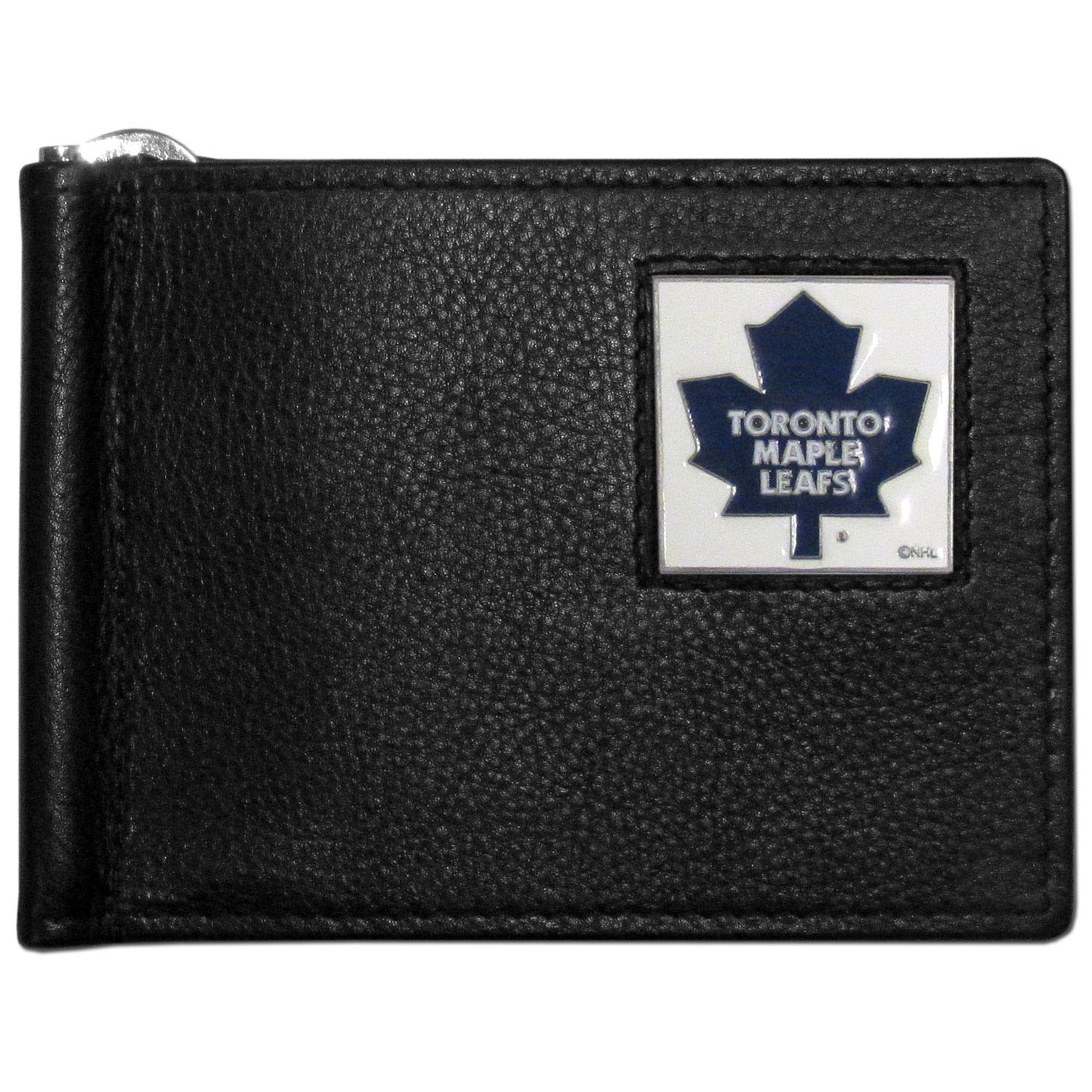 Toronto Maple Leafs® Leather Bill Clip Wallet - This cool new style wallet features an inner, metal bill clip that lips up for easy access. The super slim wallet holds tons of stuff with ample pockets, credit card slots & windowed ID slot. The wallet is made of genuine fine grain leather and it finished with a metal Toronto Maple Leafs® emblem. The wallet is shipped in gift box packaging.