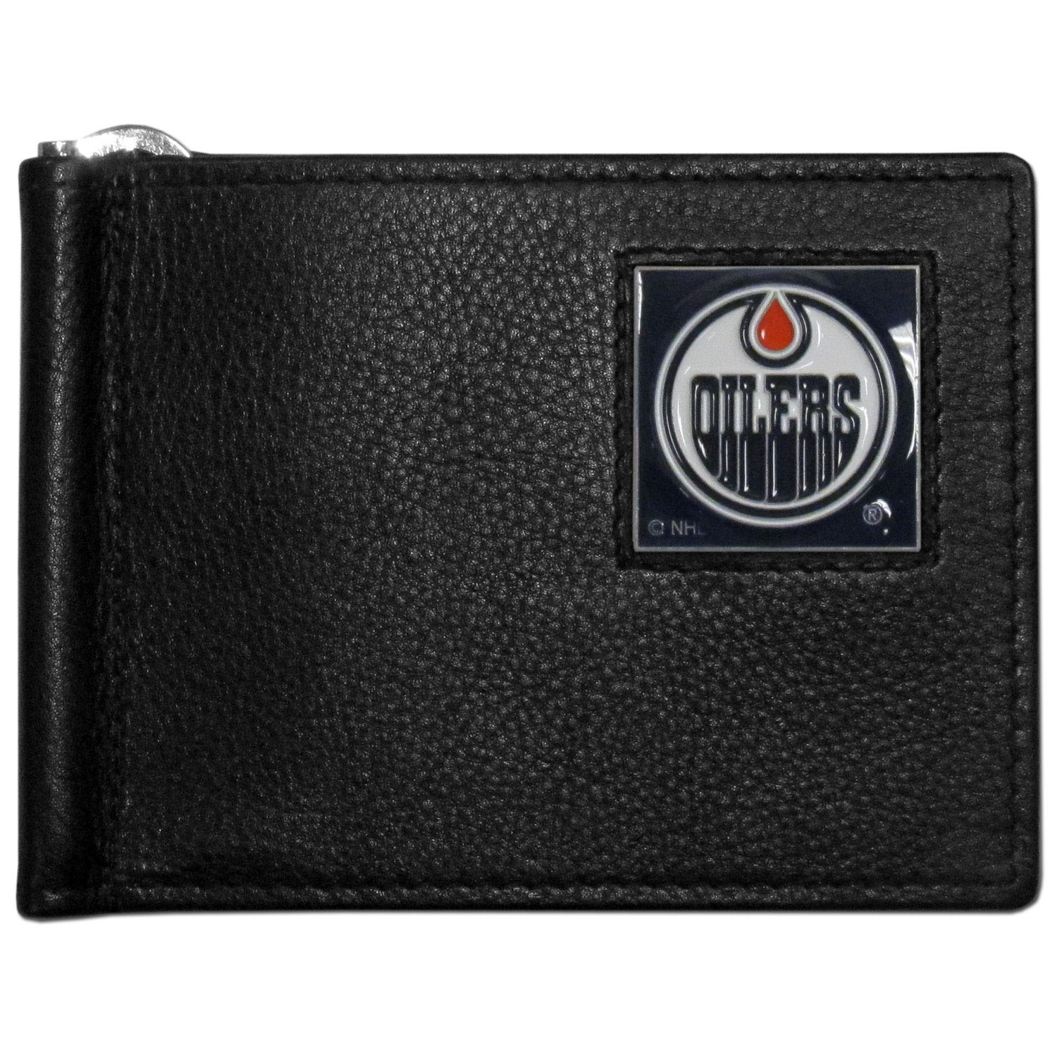 Edmonton Oilers® Leather Bill Clip Wallet - This cool new style wallet features an inner, metal bill clip that lips up for easy access. The super slim wallet holds tons of stuff with ample pockets, credit card slots & windowed ID slot. The wallet is made of genuine fine grain leather and it finished with a metal Edmonton Oilers® emblem. The wallet is shipped in gift box packaging.