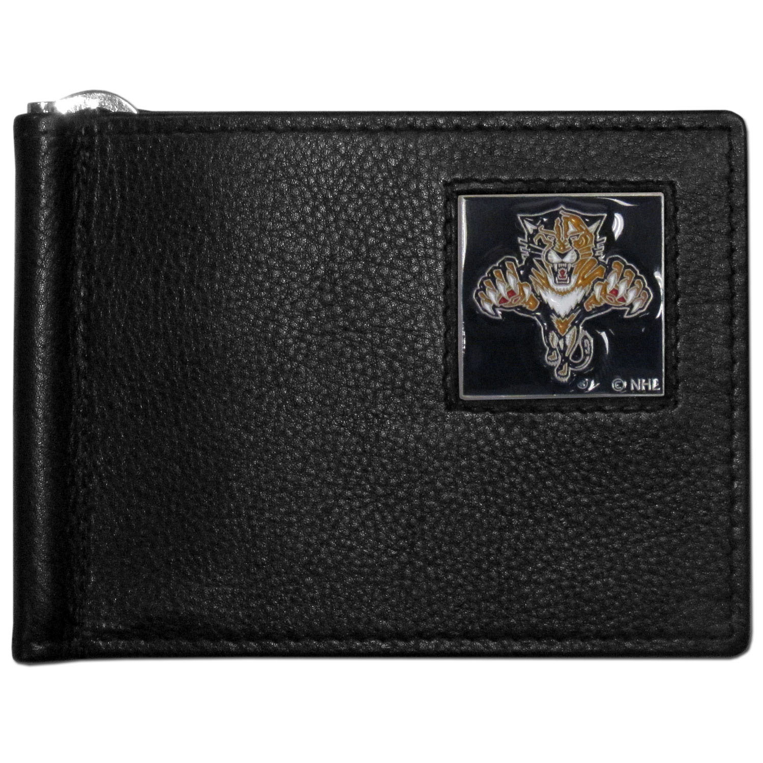 Florida Panthers® Leather Bill Clip Wallet - This cool new style wallet features an inner, metal bill clip that lips up for easy access. The super slim wallet holds tons of stuff with ample pockets, credit card slots & windowed ID slot. The wallet is made of genuine fine grain leather and it finished with a metal Florida Panthers® emblem. The wallet is shipped in gift box packaging.