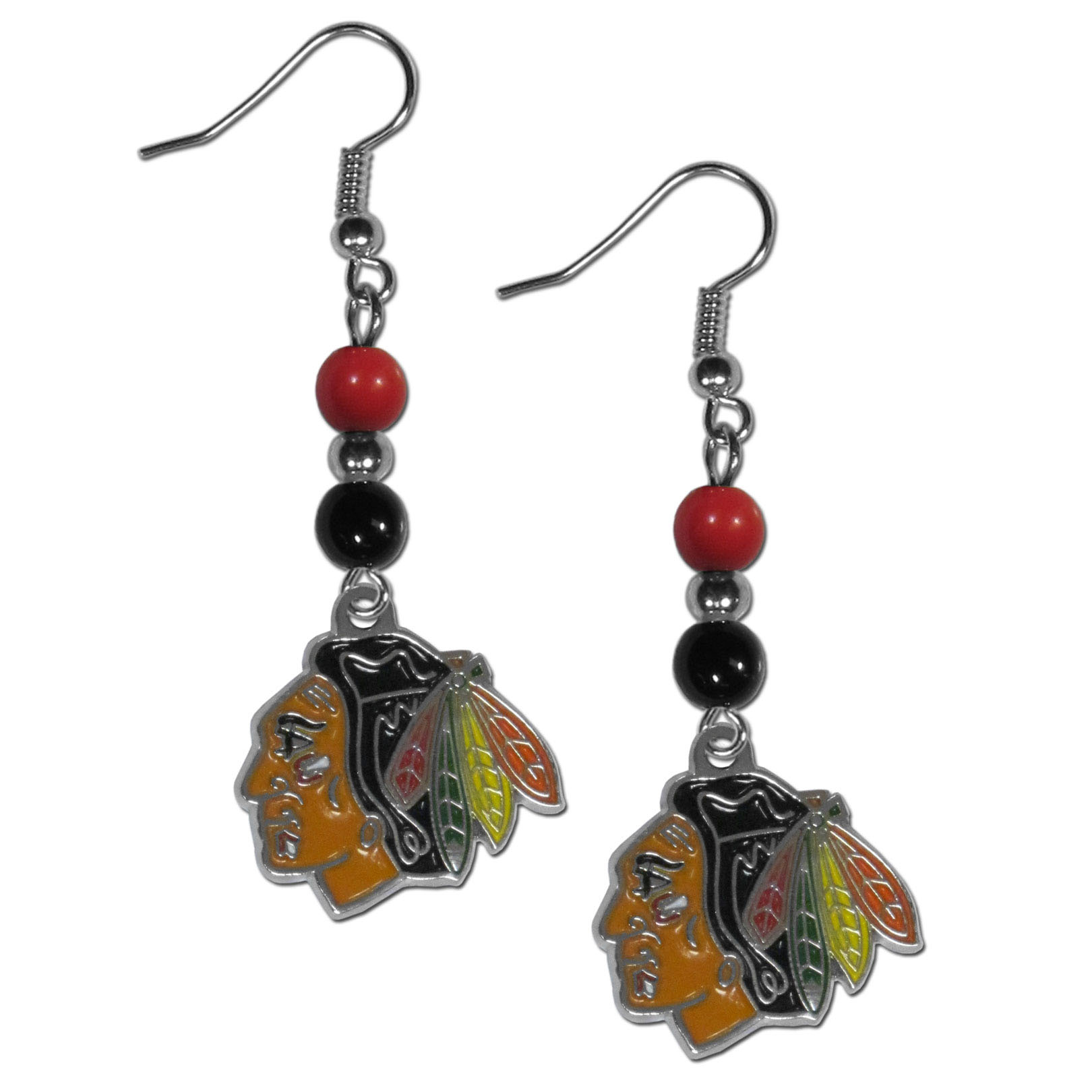 Chicago Blackhawks® Fan Bead Dangle Earrings - Love your team, show it off with our Chicago Blackhawks® bead dangle earrings! These super cute earrings hang approximately 2 inches and features 2 team colored beads and a high polish team charm. A must have for game day!