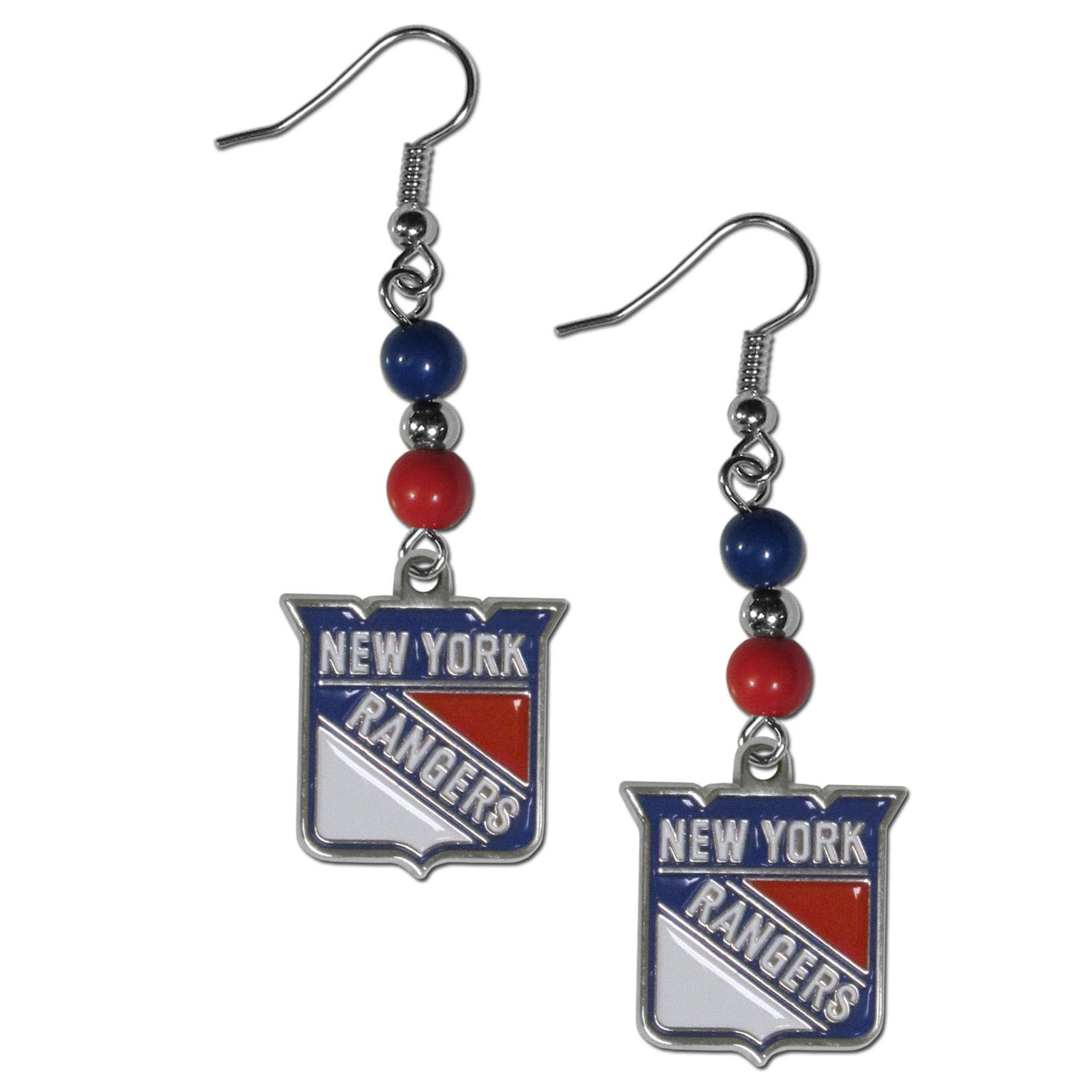 New York Rangers® Fan Bead Dangle Earrings - Love your team, show it off with our New York Rangers® bead dangle earrings! These super cute earrings hang approximately 2 inches and features 2 team colored beads and a high polish team charm. A must have for game day!