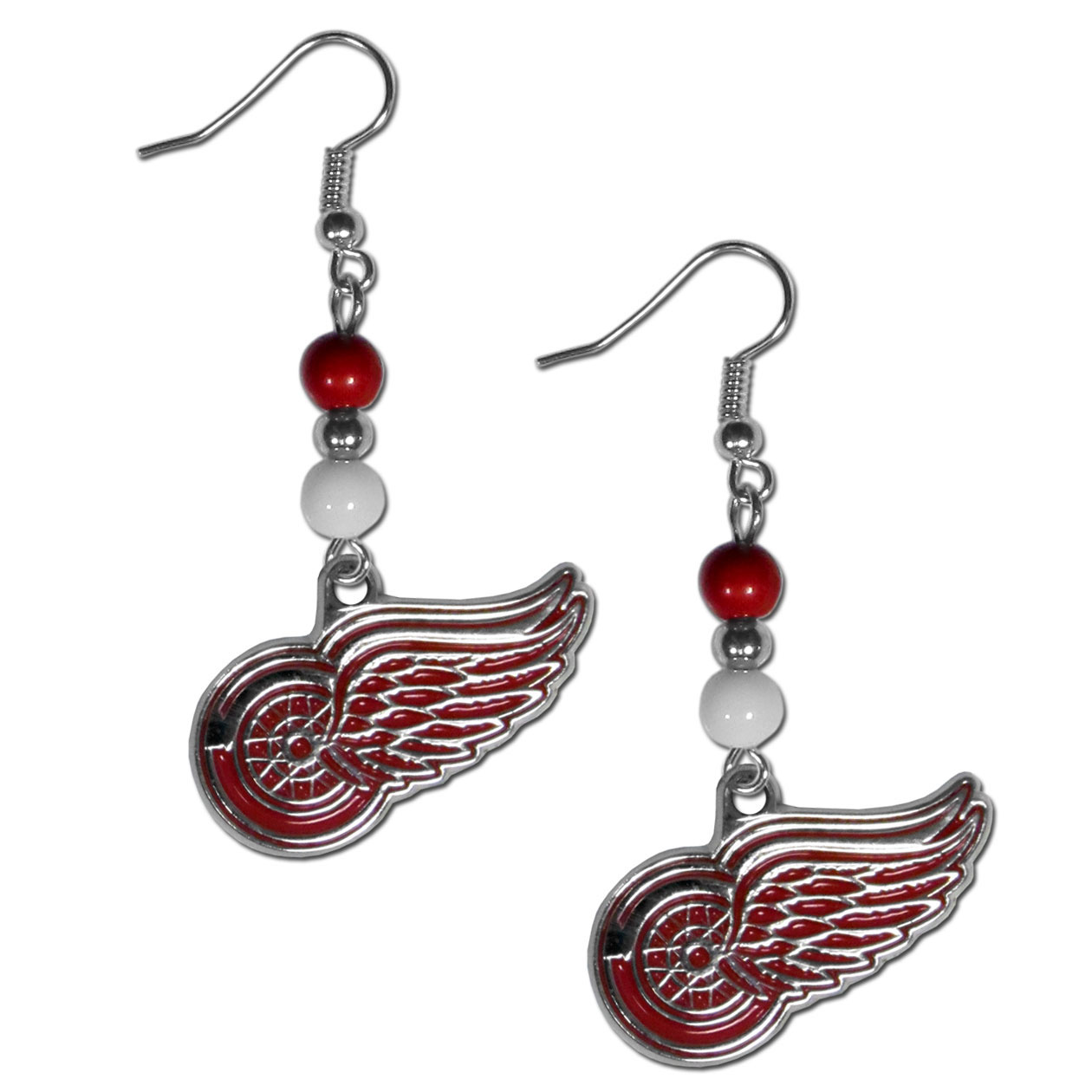 Detroit Red Wings® Fan Bead Dangle Earrings - Love your team, show it off with our Detroit Red Wings® bead dangle earrings! These super cute earrings hang approximately 2 inches and features 2 team colored beads and a high polish team charm. A must have for game day!