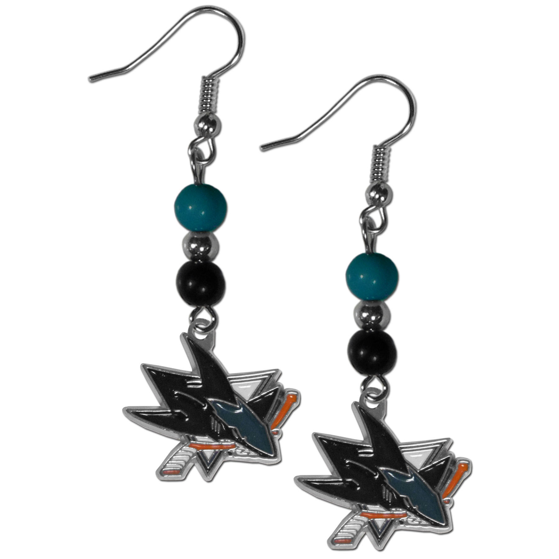 San Jose Sharks® Fan Bead Dangle Earrings - Love your team, show it off with our San Jose Sharks® bead dangle earrings! These super cute earrings hang approximately 2 inches and features 2 team colored beads and a high polish team charm. A must have for game day!