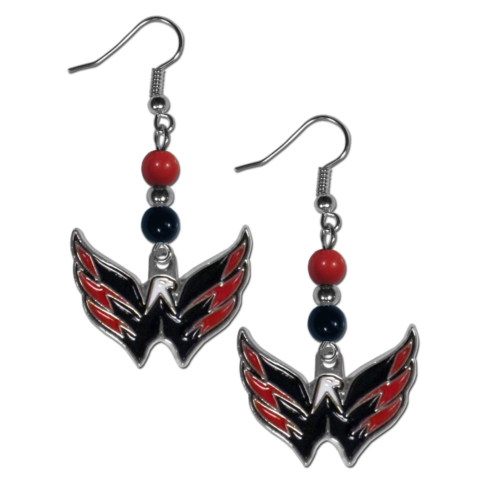 Washington Capitals® Fan Bead Dangle Earrings - Love your team, show it off with our Washington Capitals® bead dangle earrings! These super cute earrings hang approximately 2 inches and features 2 team colored beads and a high polish team charm. A must have for game day!