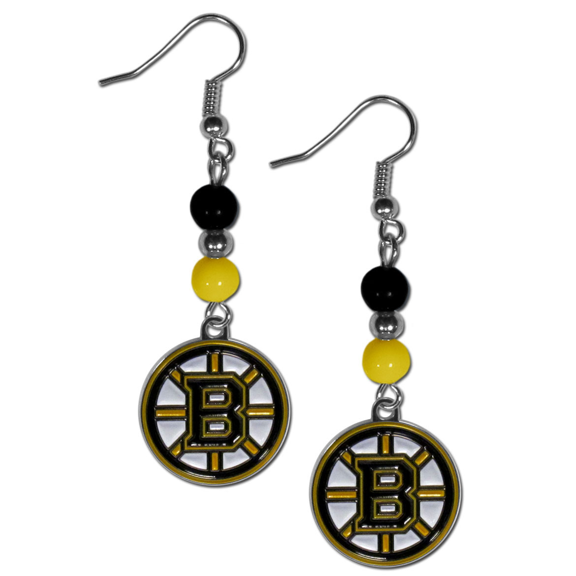 Boston Bruins® Fan Bead Dangle Earrings - Love your team, show it off with our Boston Bruins® bead dangle earrings! These super cute earrings hang approximately 2 inches and features 2 team colored beads and a high polish team charm. A must have for game day!