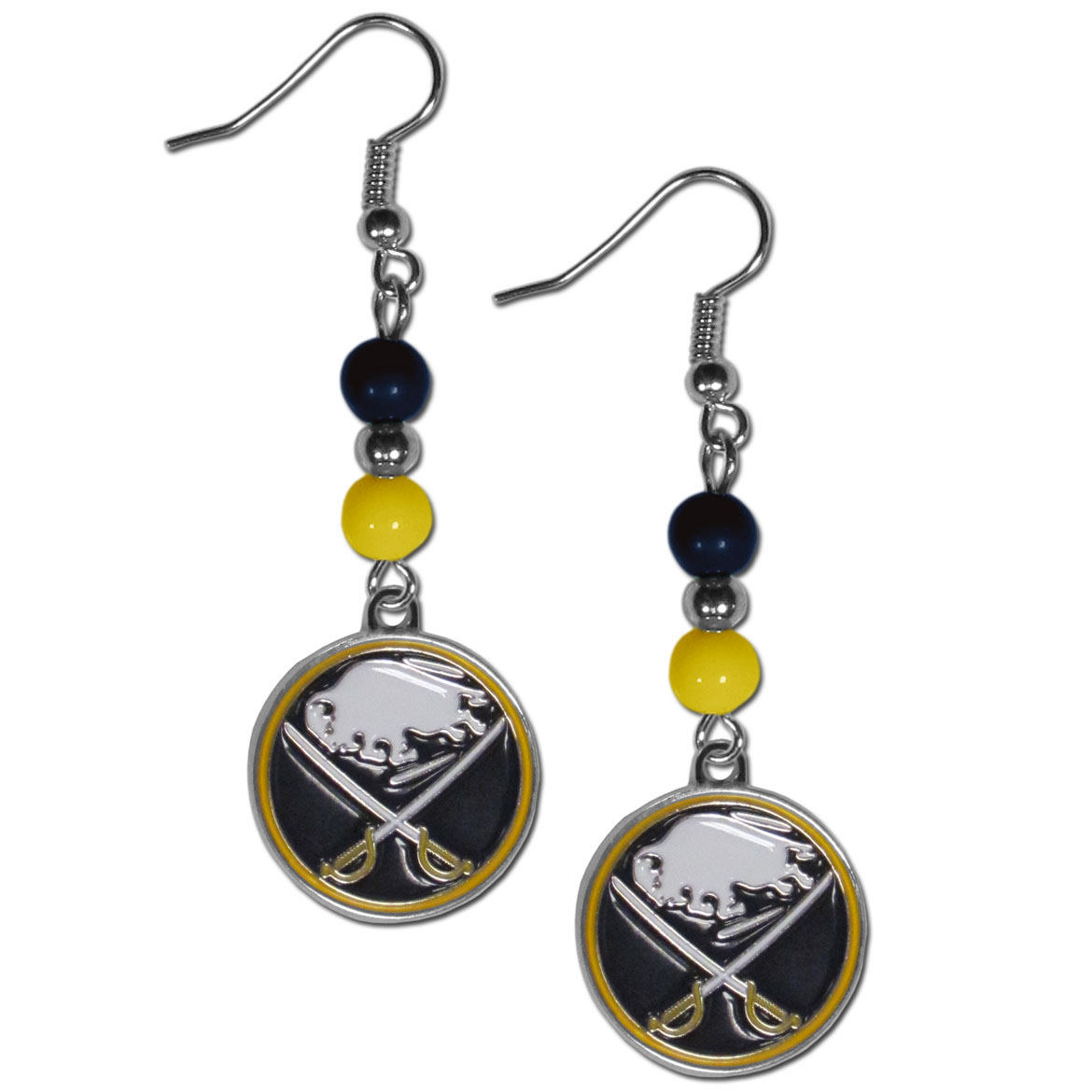 Buffalo Sabres® Fan Bead Dangle Earrings - Love your team, show it off with our Buffalo Sabres® bead dangle earrings! These super cute earrings hang approximately 2 inches and features 2 team colored beads and a high polish team charm. A must have for game day!