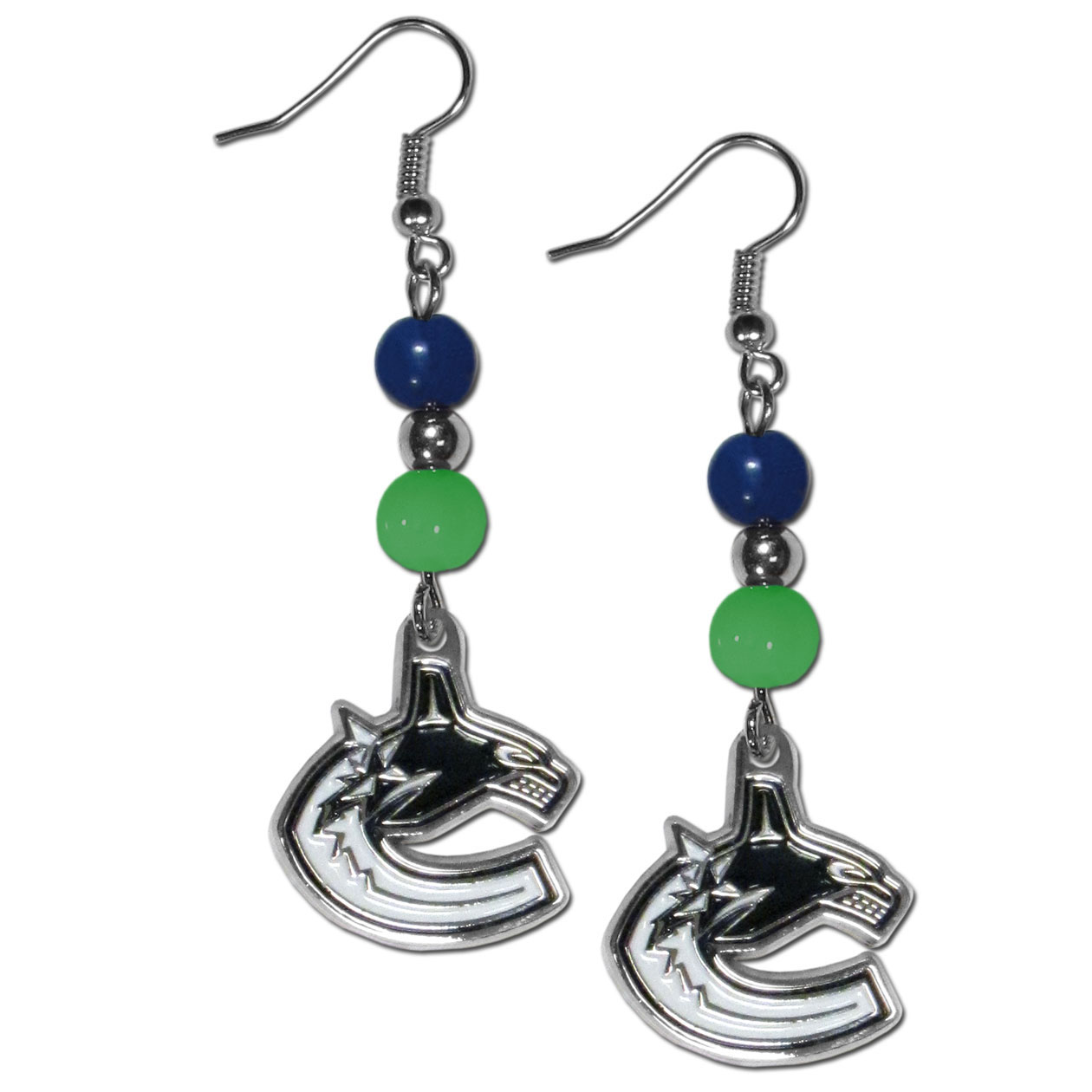 Vancouver Canucks® Fan Bead Dangle Earrings - Love your team, show it off with our Vancouver Canucks® bead dangle earrings! These super cute earrings hang approximately 2 inches and features 2 team colored beads and a high polish team charm. A must have for game day!