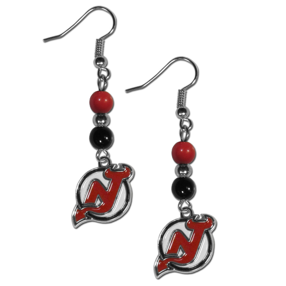 New Jersey Devils® Fan Bead Dangle Earrings - Love your team, show it off with our New Jersey Devils® bead dangle earrings! These super cute earrings hang approximately 2 inches and features 2 team colored beads and a high polish team charm. A must have for game day!