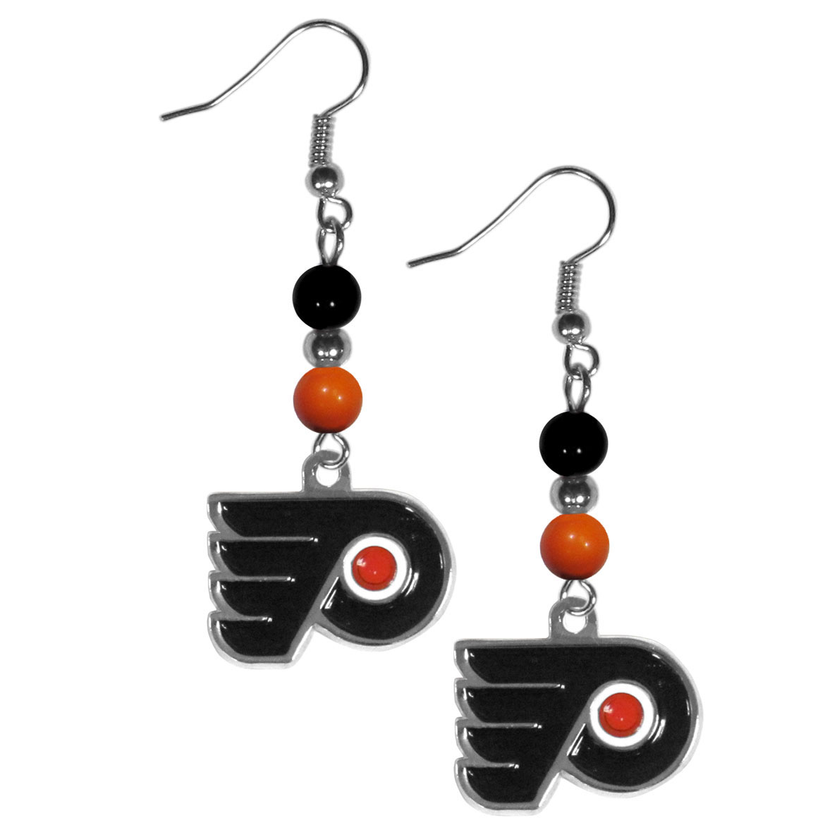 Philadelphia Flyers® Fan Bead Dangle Earrings - Love your team, show it off with our Philadelphia Flyers® bead dangle earrings! These super cute earrings hang approximately 2 inches and features 2 team colored beads and a high polish team charm. A must have for game day!