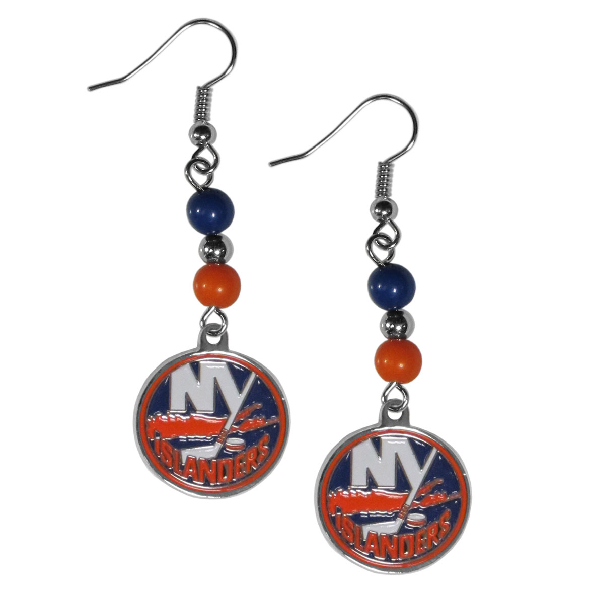 New York Islanders® Fan Bead Dangle Earrings - Love your team, show it off with our New York Islanders® bead dangle earrings! These super cute earrings hang approximately 2 inches and features 2 team colored beads and a high polish team charm. A must have for game day!