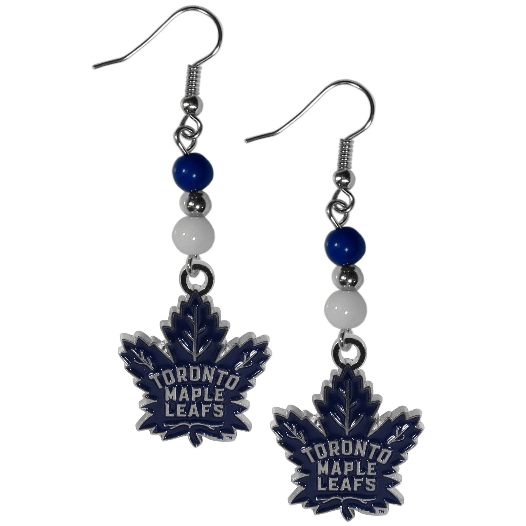 Toronto Maple Leafs® Fan Bead Dangle Earrings - Love your team, show it off with our Toronto Maple Leafs® bead dangle earrings! These super cute earrings hang approximately 2 inches and features 2 team colored beads and a high polish team charm. A must have for game day!