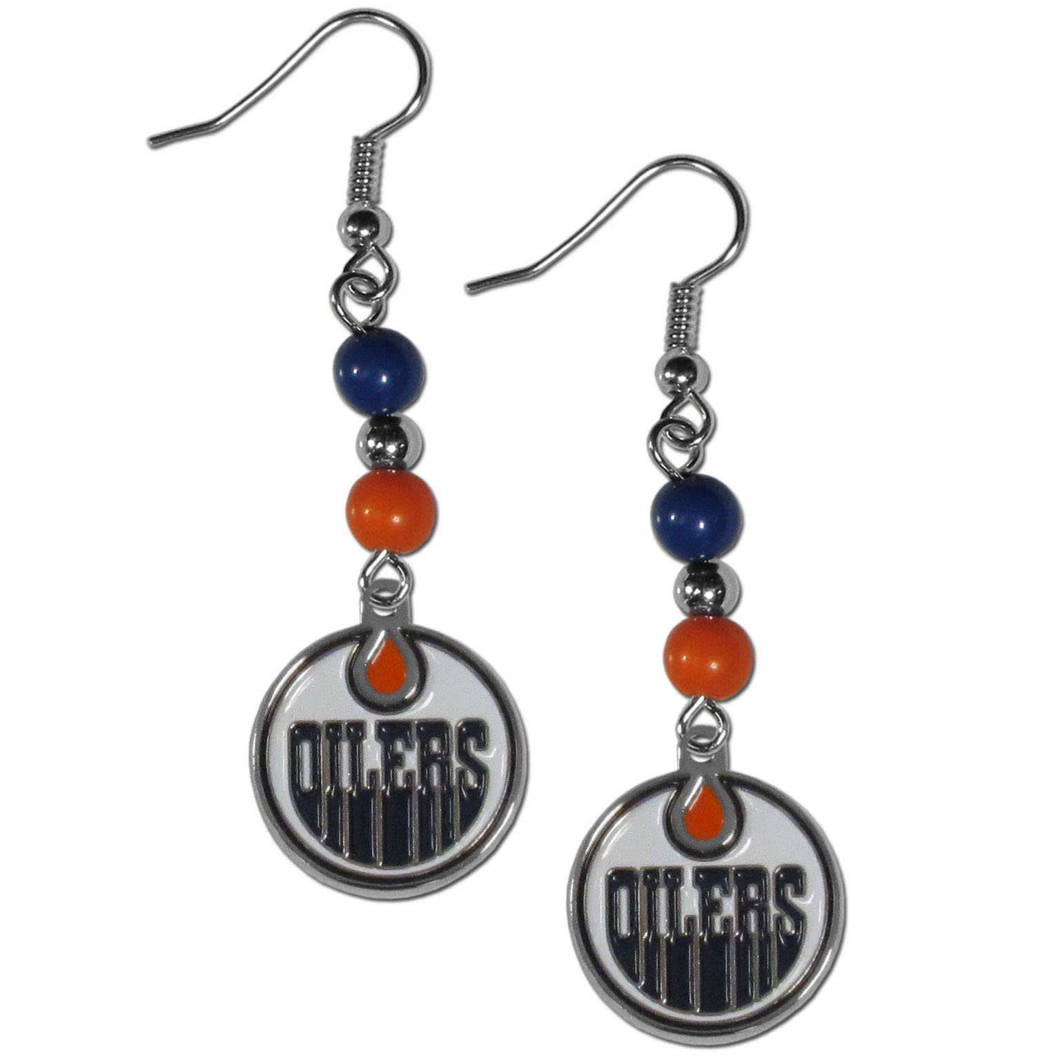 Edmonton Oilers® Fan Bead Dangle Earrings - Love your team, show it off with our Edmonton Oilers® bead dangle earrings! These super cute earrings hang approximately 2 inches and features 2 team colored beads and a high polish team charm. A must have for game day!