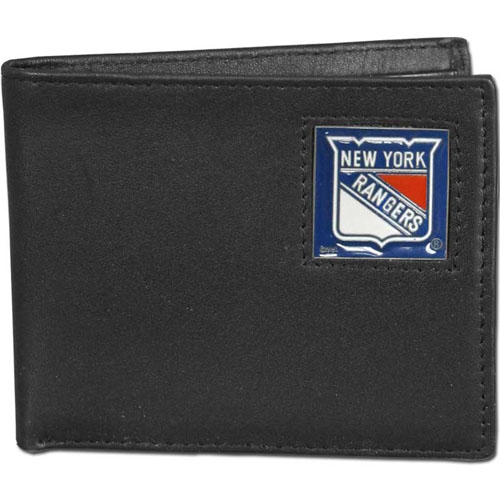 New York Rangers NHL Bifold Wallet  - Officially licensed New York Rangers NHL Bi-fold wallet is made of high quality fine grain leather and includes credit card slots and photo sleeves. New York Rangers logo is sculpted and enameled with fine detail on the front panel. Thank you for visiting CrazedOutSports