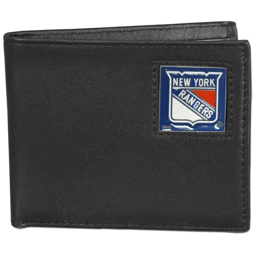 NHL Bifold Wallet in Box - New York Rangers - New York Rangers NHL Bi-fold wallet is made of high quality fine grain leather and includes credit card slots and photo sleeves. New York Rangers logo is sculpted and enameled with fine detail on the front panel. Packaged in a window box.