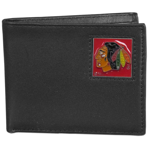 Chicago Blackhawks Leather Bi-fold Wallet - Officially licensed NHL Chicago Blackhawks fine grain leather bi-fold wallet features numerous card slots, large billfold pocket and flip up window ID slot. This quality Chicago Blackhawks wallet has an enameled Chicago Blackhawks emblem on the front of the wallet. Thank you for visiting CrazedOutSports