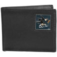 San Jose Sharks Leather Bi-fold Wallet - Officially licensed San Jose Sharks fine grain leather bi-fold wallet features numerous card slots, large billfold pocket and flip up window ID slot. This quality wallet has an enameled San Jose Sharks emblem on the front of the wallet. The San Jose Sharks wallet is packaged in a gift box.