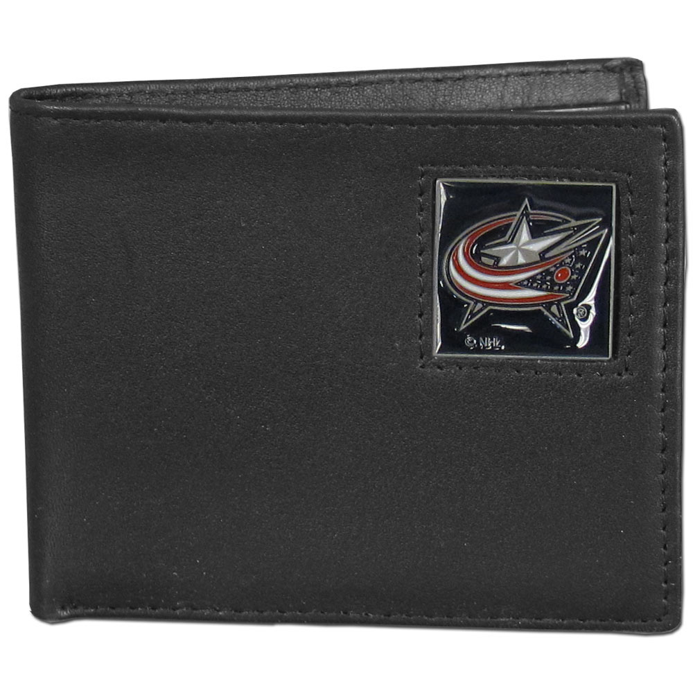 Columbus Blue Jackets® Leather Bi-fold Wallet - Our officially licensed fine grain leather bi-fold wallet features numerous card slots, large billfold pocket and flip up window ID slot. This quality wallet has an enameled Columbus Blue Jackets® emblem on the front of the wallet.